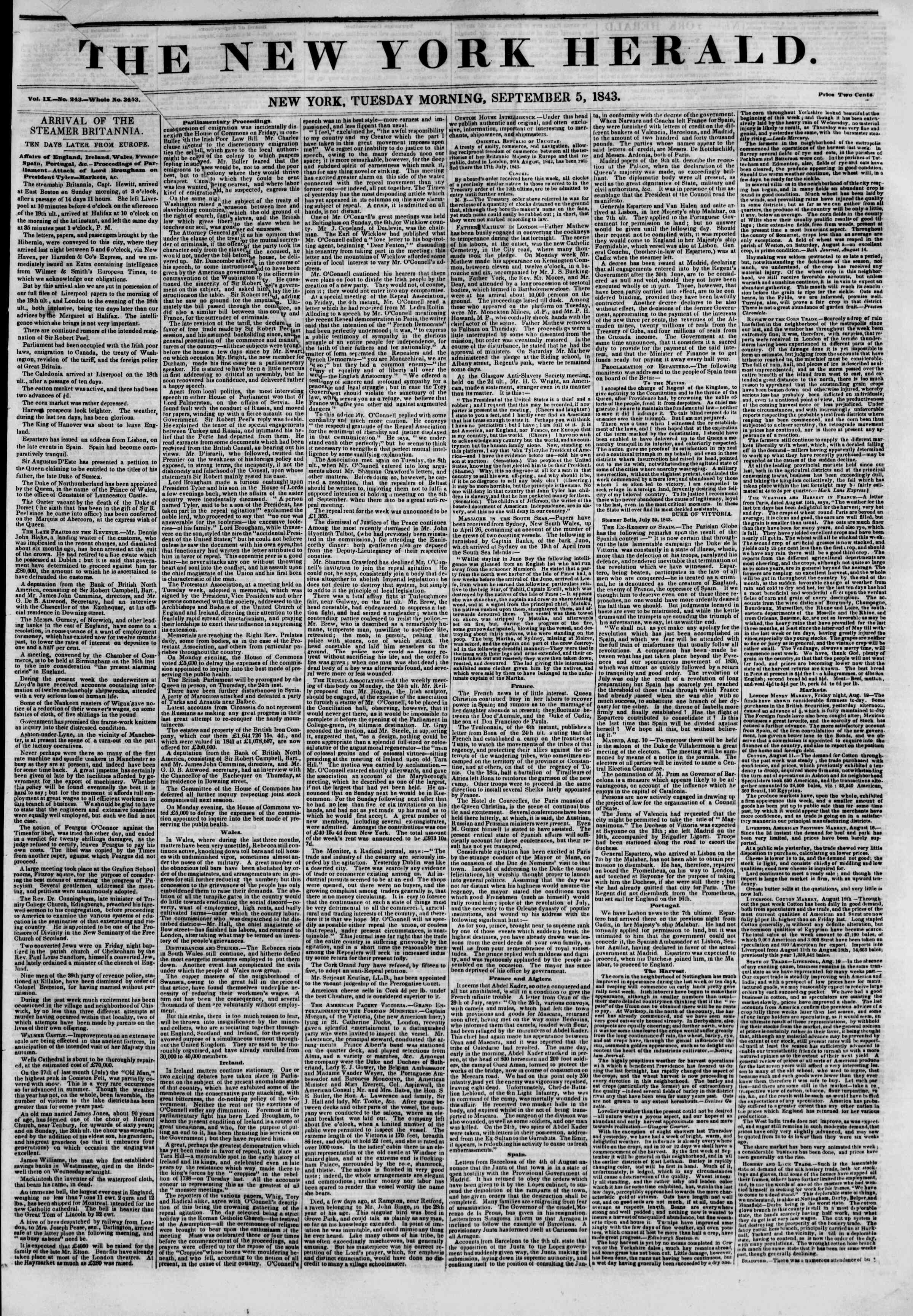 Newspaper of The New York Herald dated September 5, 1843 Page 1