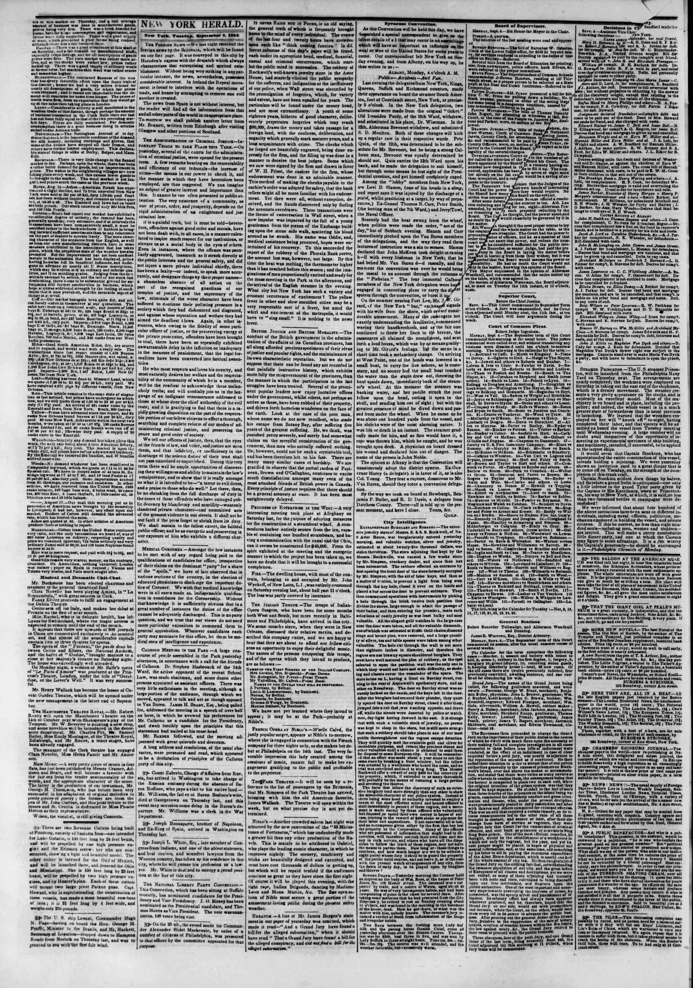 September 5, 1843 Tarihli The New York Herald Gazetesi Sayfa 2