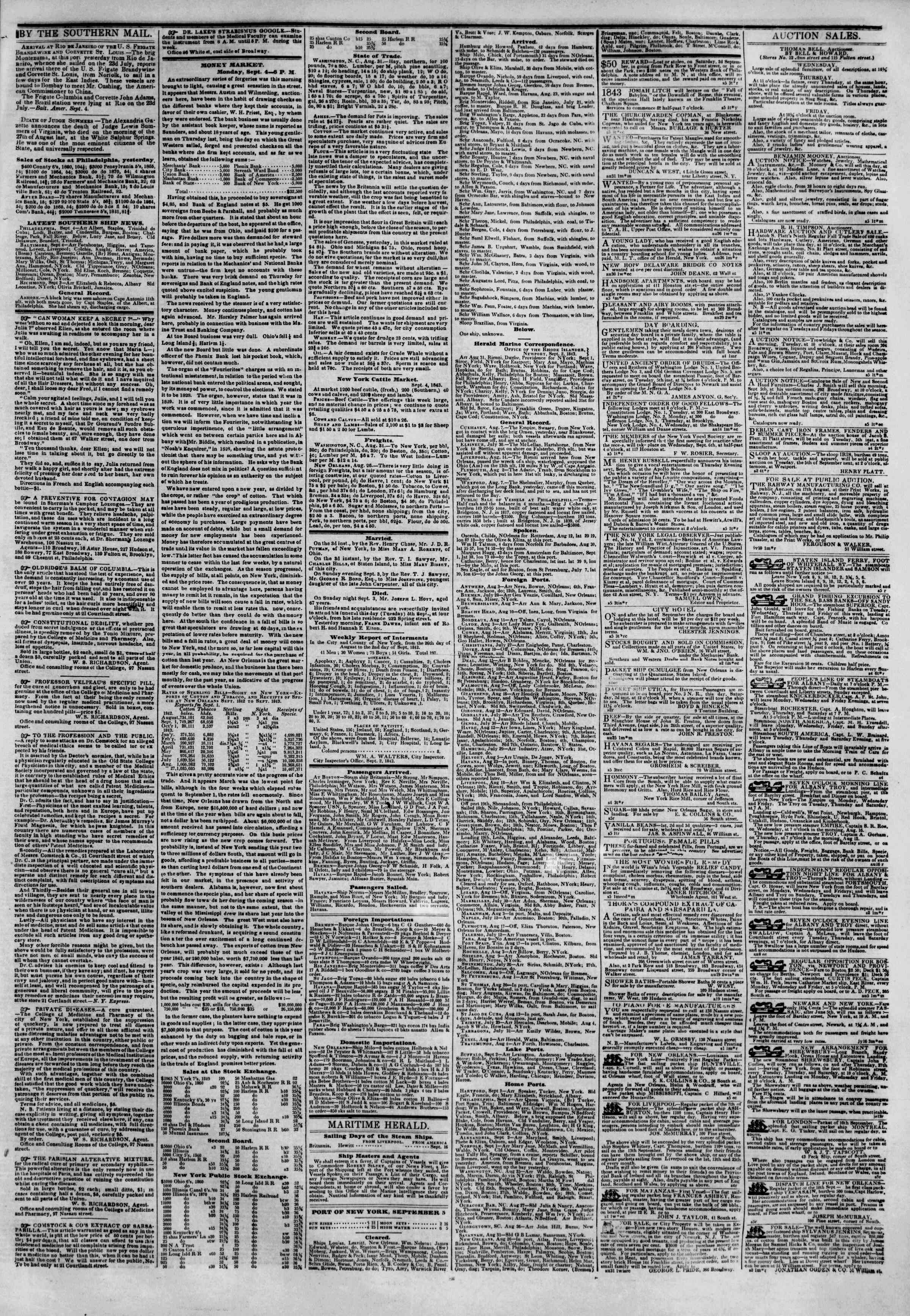 Newspaper of The New York Herald dated 5 Eylül 1843 Page 3