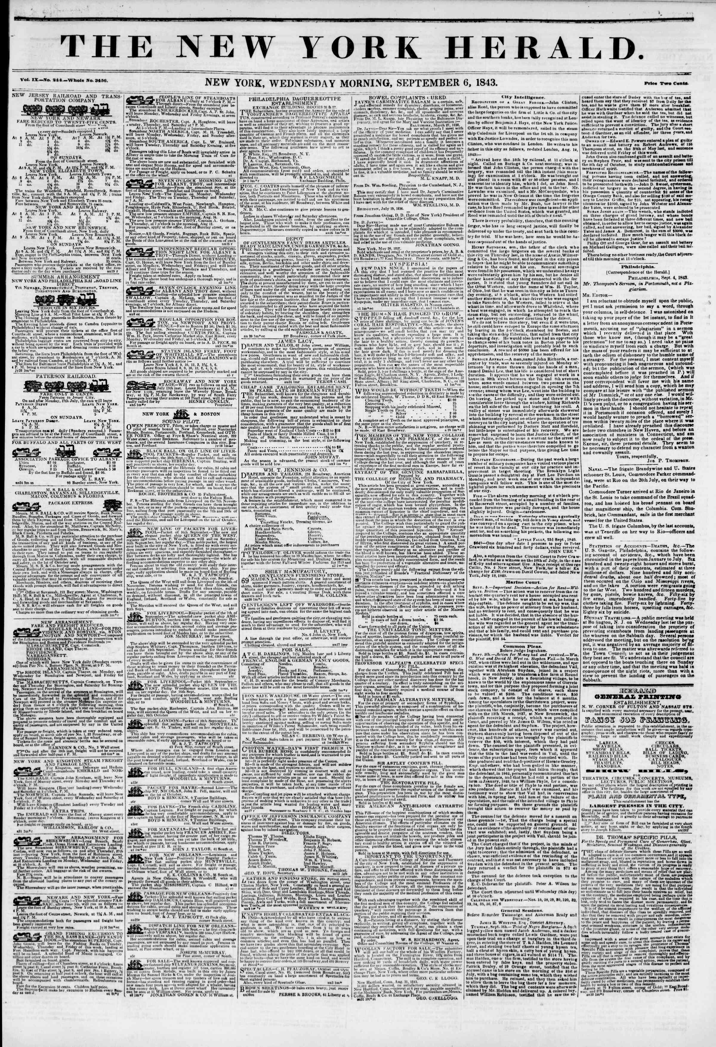 Newspaper of The New York Herald dated September 6, 1843 Page 1