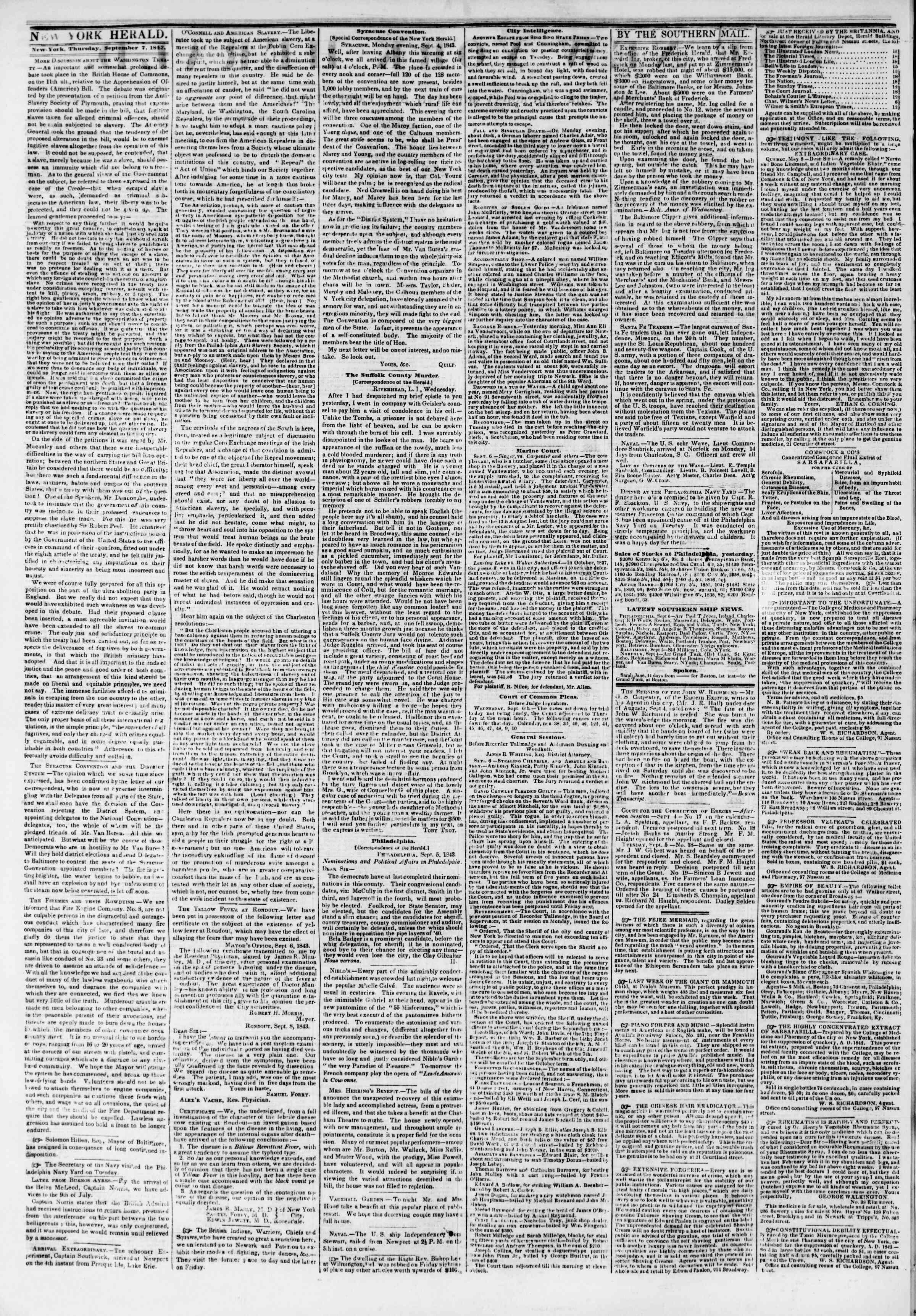 7 Eylül 1843 tarihli The New York Herald Gazetesi Sayfa 2