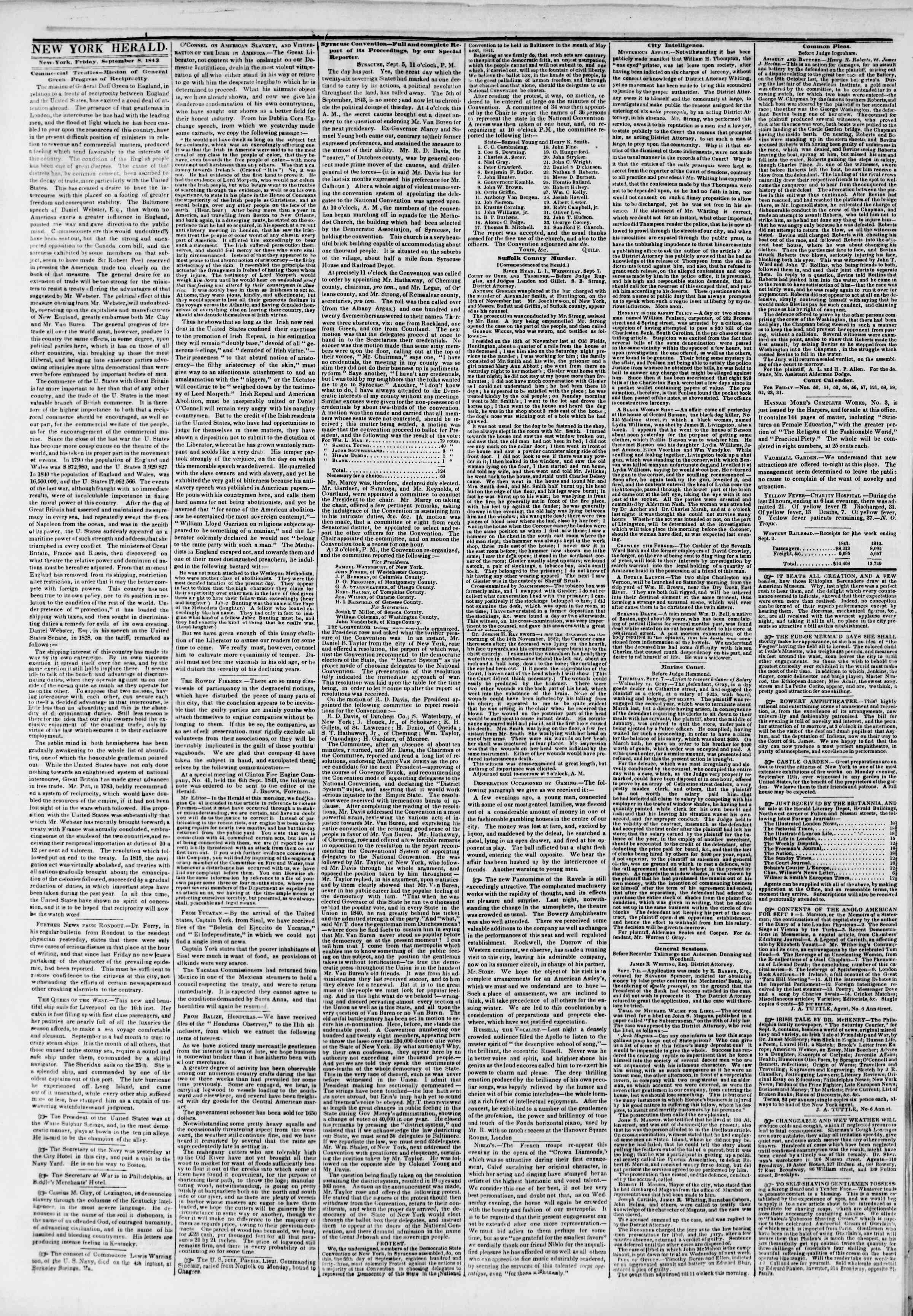 September 8, 1843 Tarihli The New York Herald Gazetesi Sayfa 2