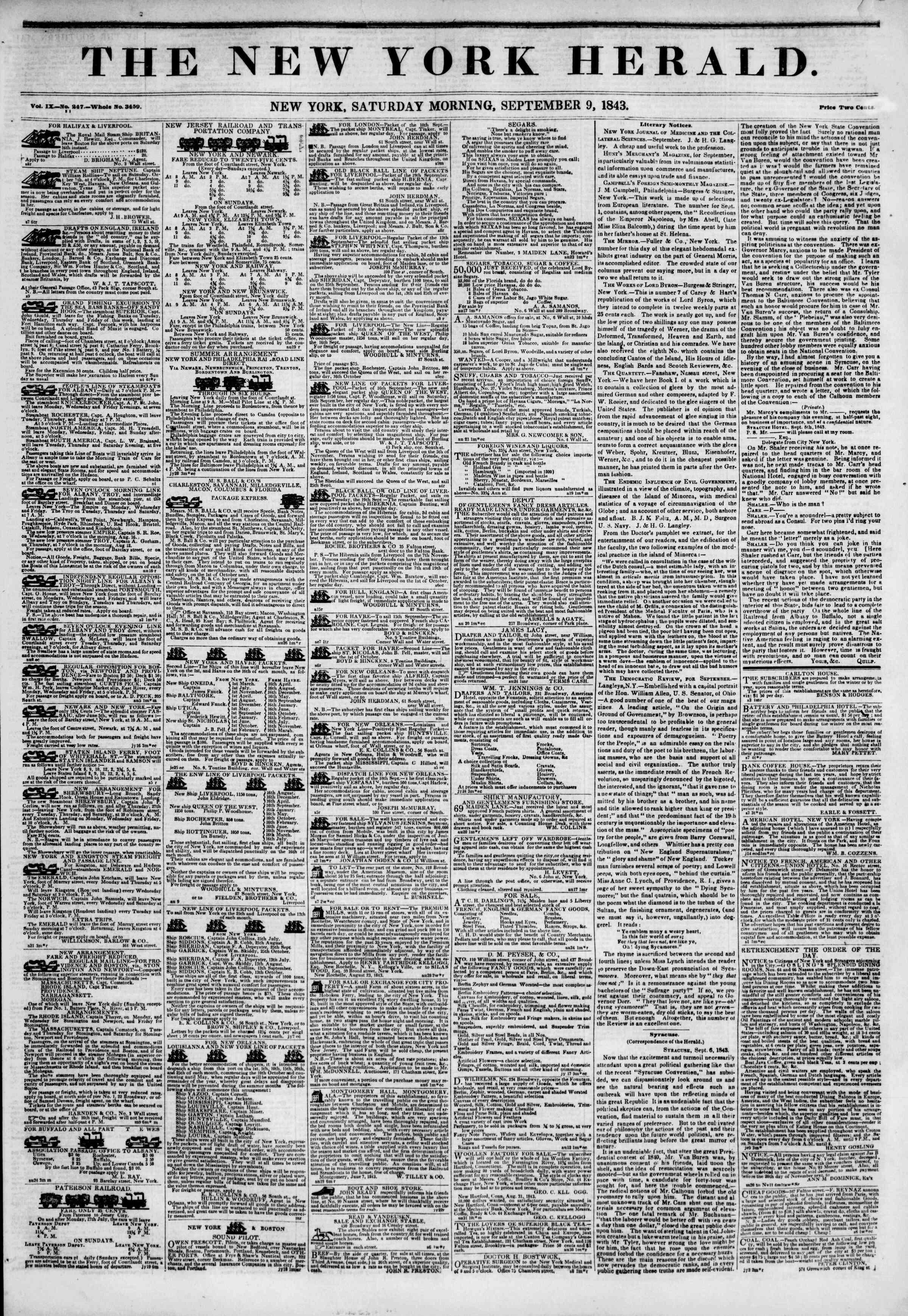 September 9, 1843 Tarihli The New York Herald Gazetesi Sayfa 1