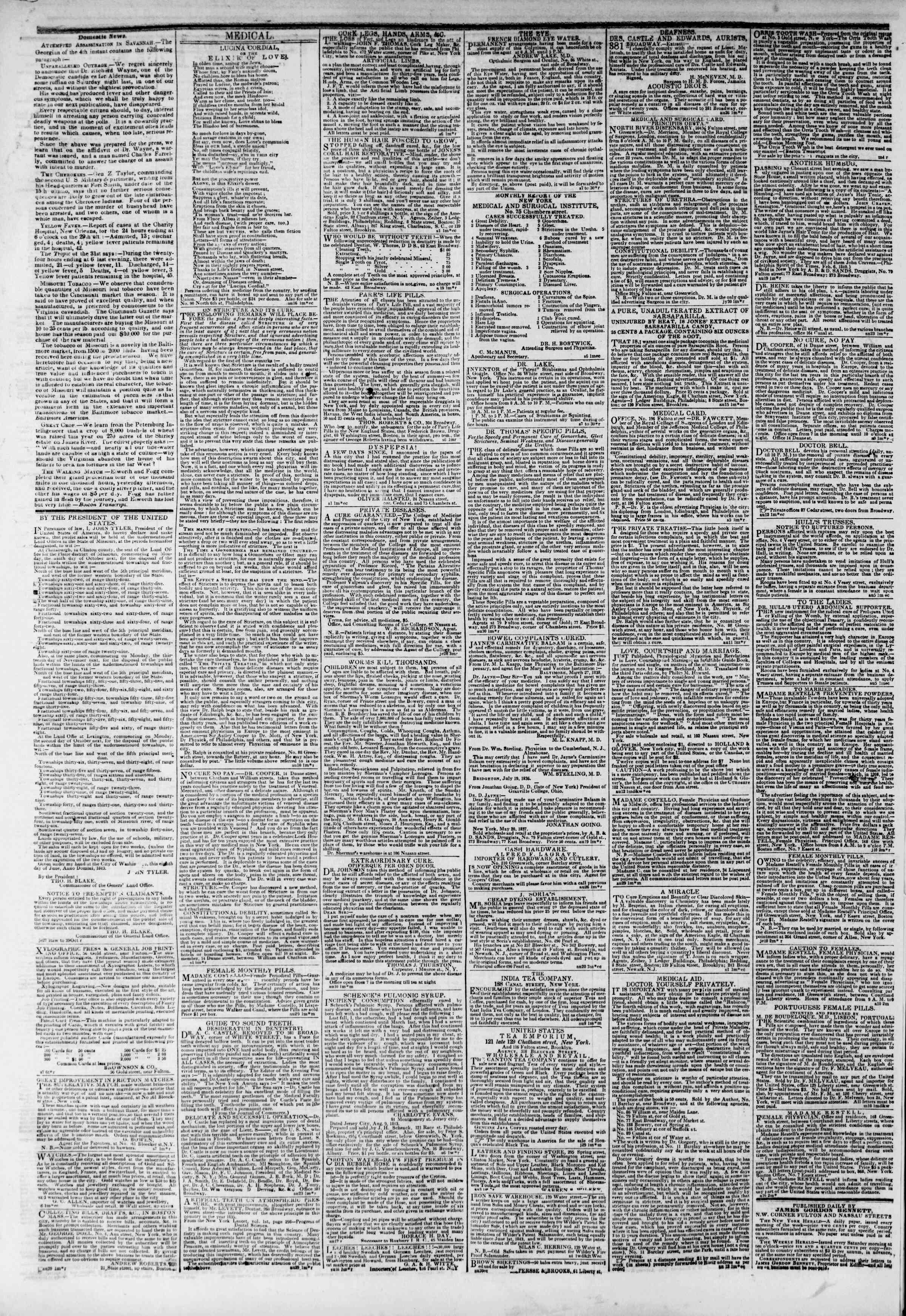 September 9, 1843 Tarihli The New York Herald Gazetesi Sayfa 4