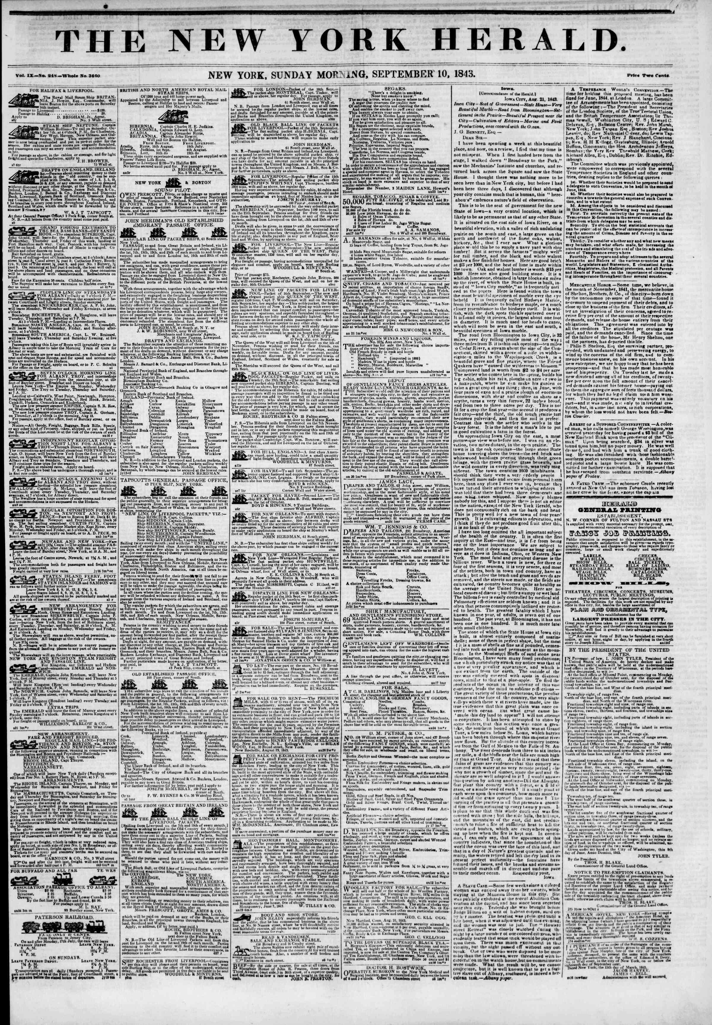 September 10, 1843 Tarihli The New York Herald Gazetesi Sayfa 1