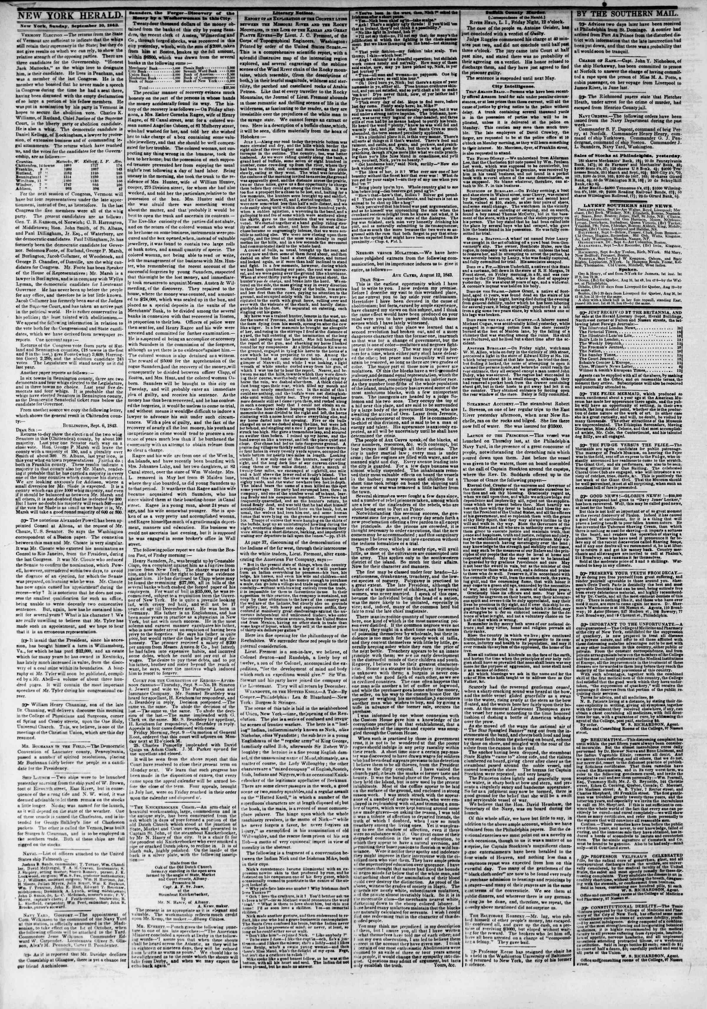 Newspaper of The New York Herald dated September 10, 1843 Page 2