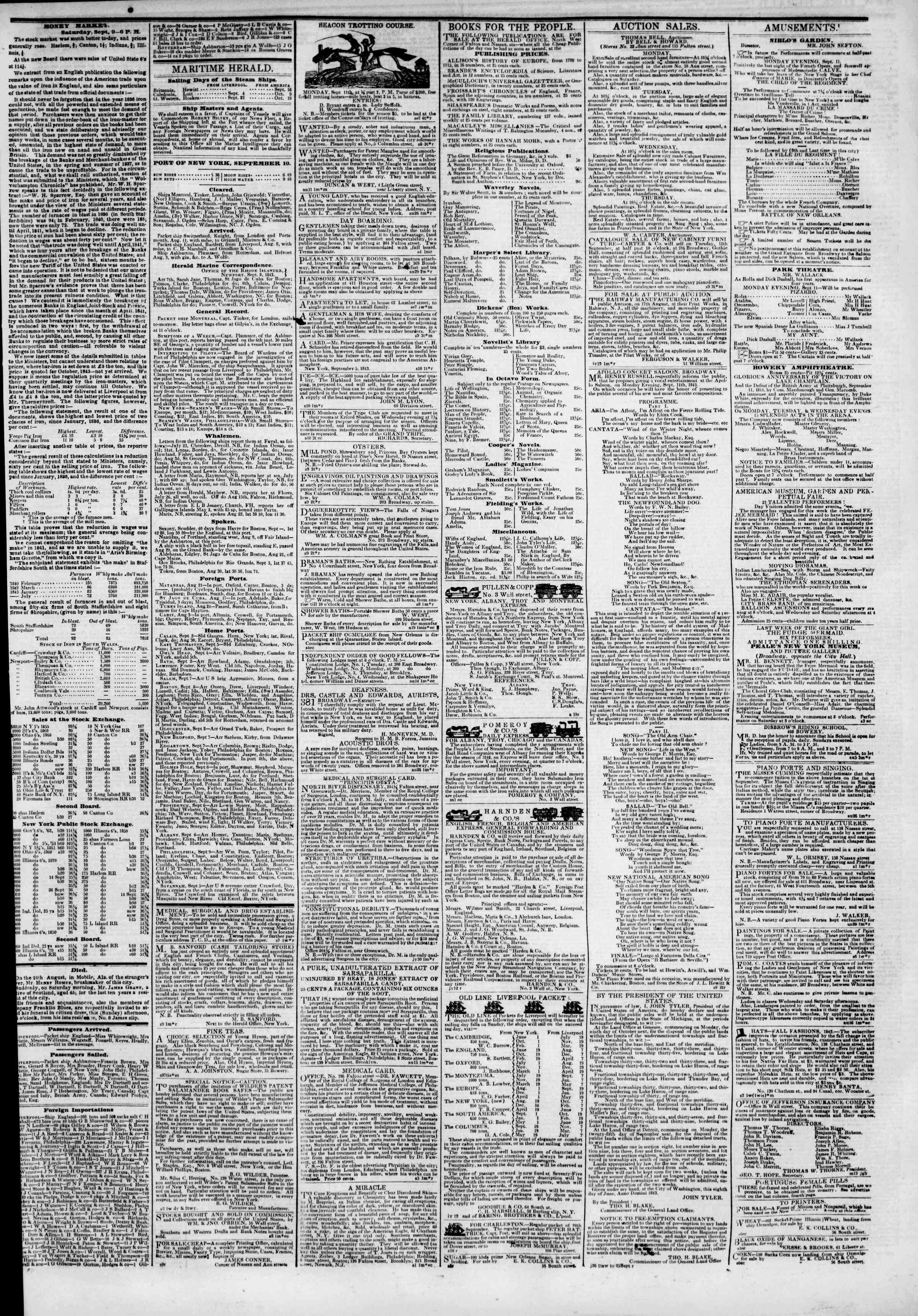Newspaper of The New York Herald dated September 10, 1843 Page 3