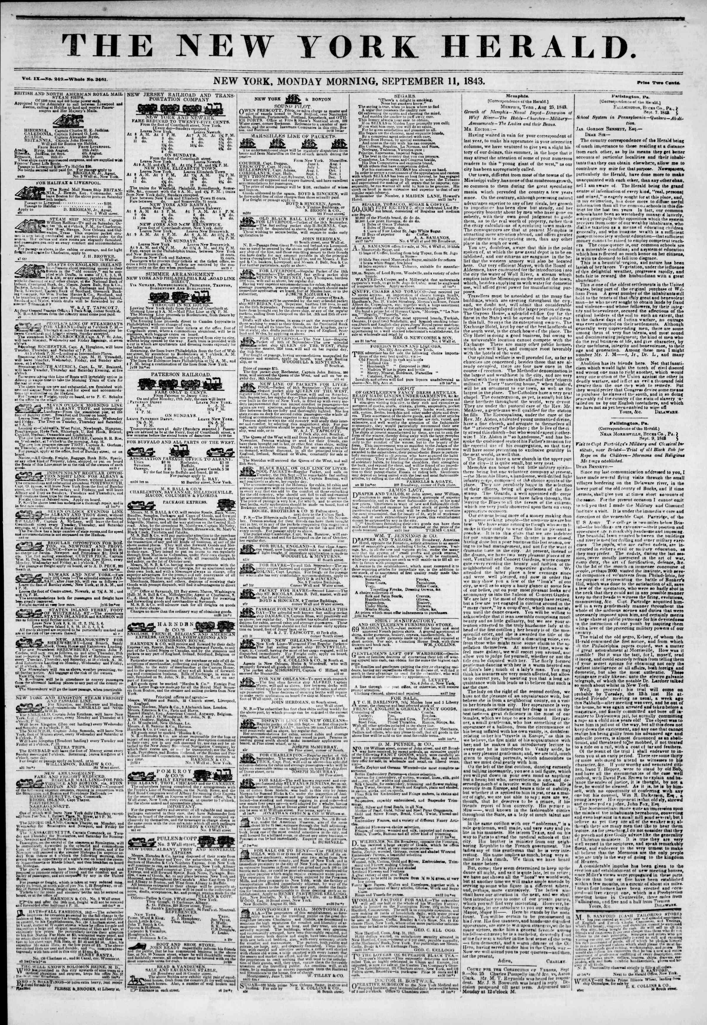 September 11, 1843 Tarihli The New York Herald Gazetesi Sayfa 1