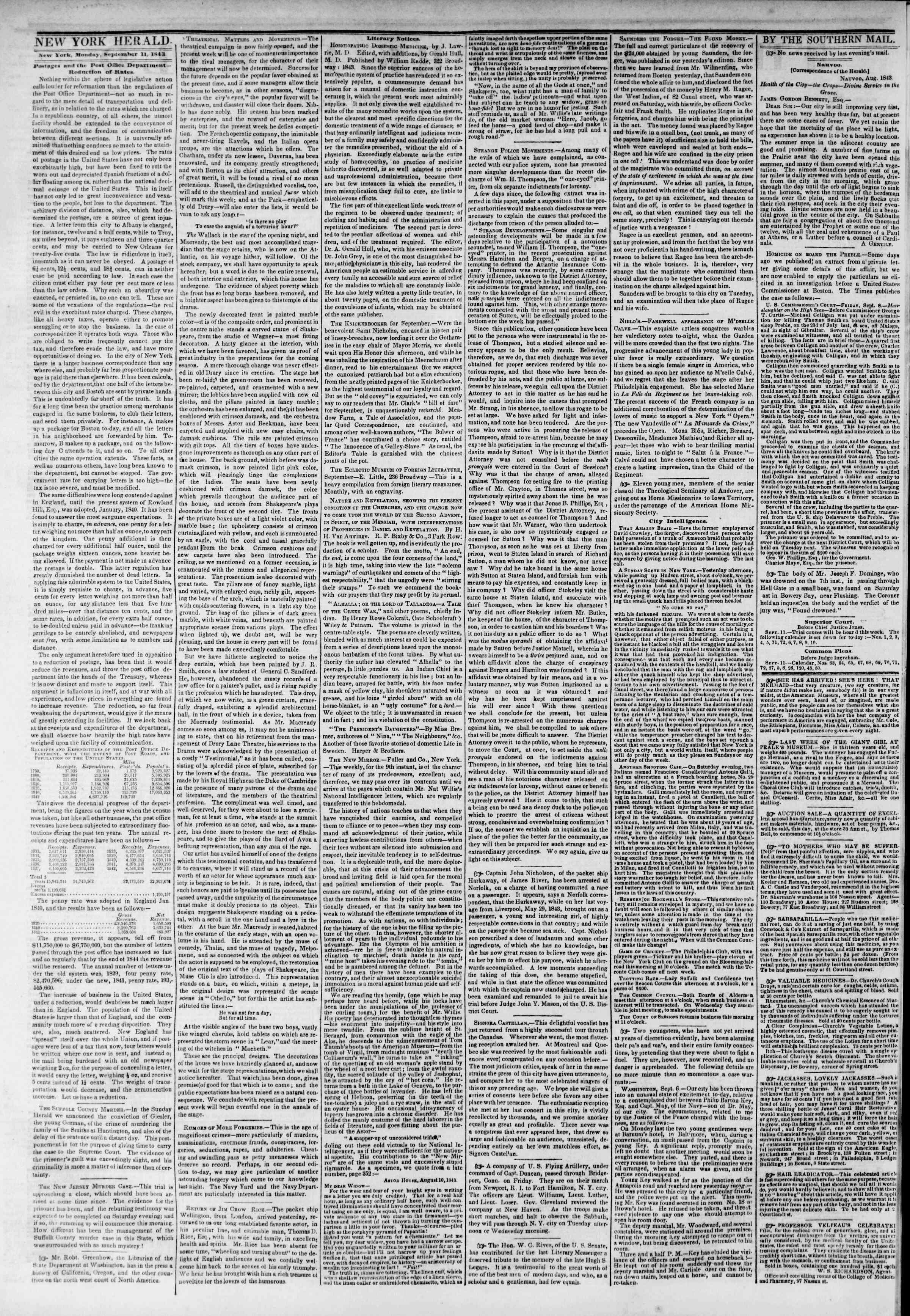 September 11, 1843 Tarihli The New York Herald Gazetesi Sayfa 2