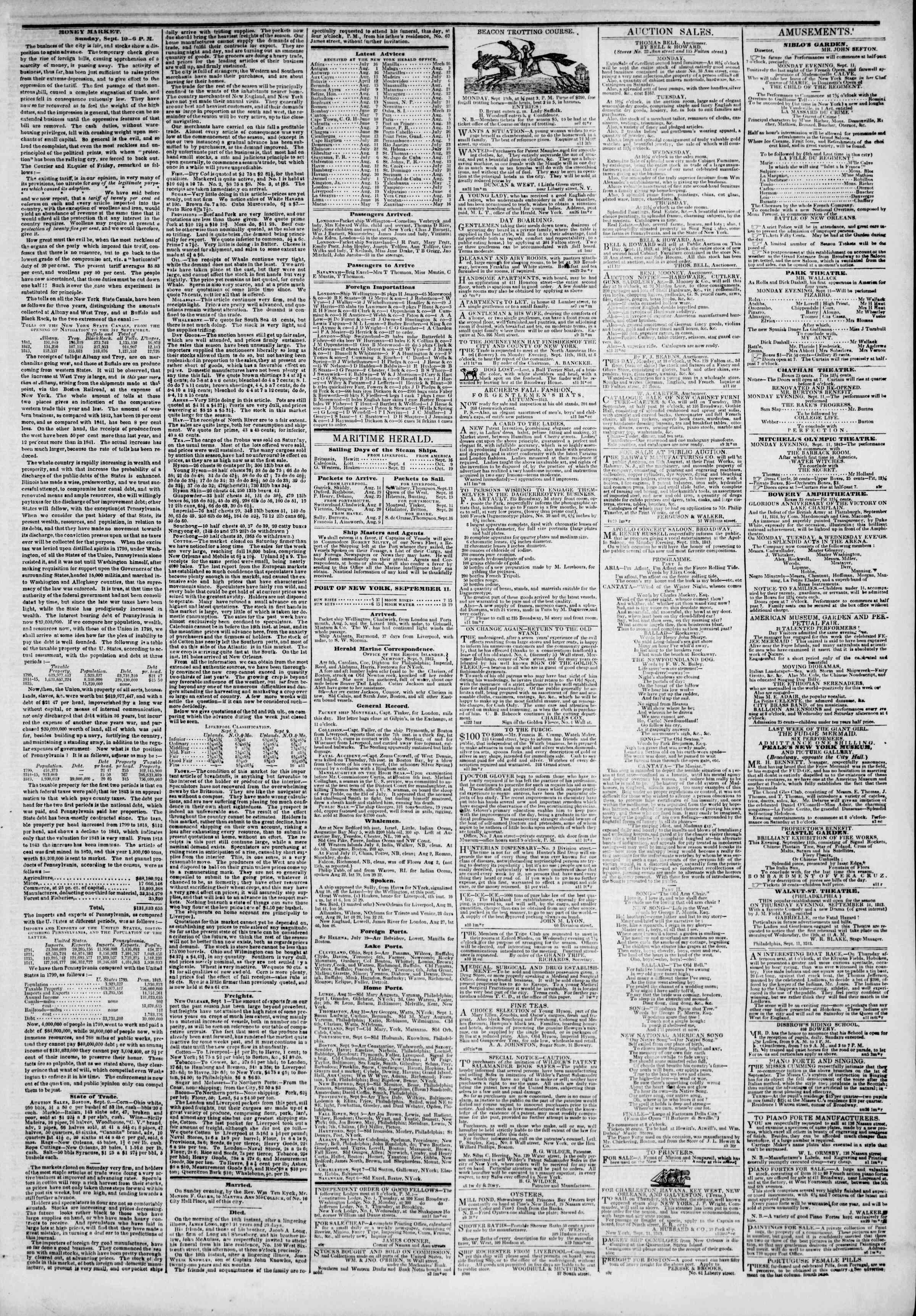 September 11, 1843 Tarihli The New York Herald Gazetesi Sayfa 3
