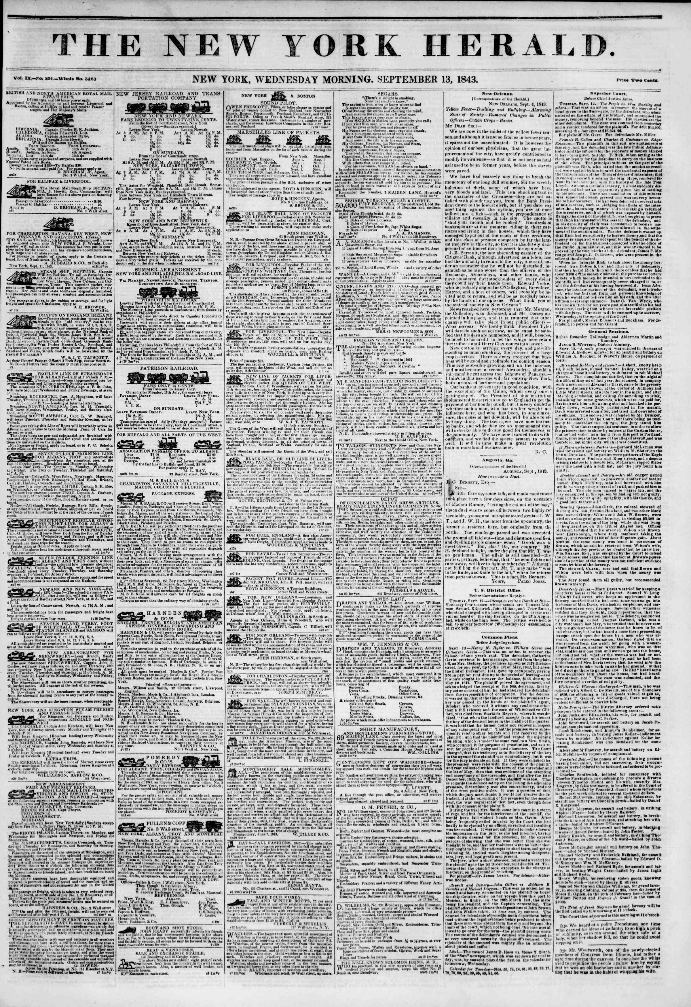 Newspaper of The New York Herald dated September 13, 1843 Page 1