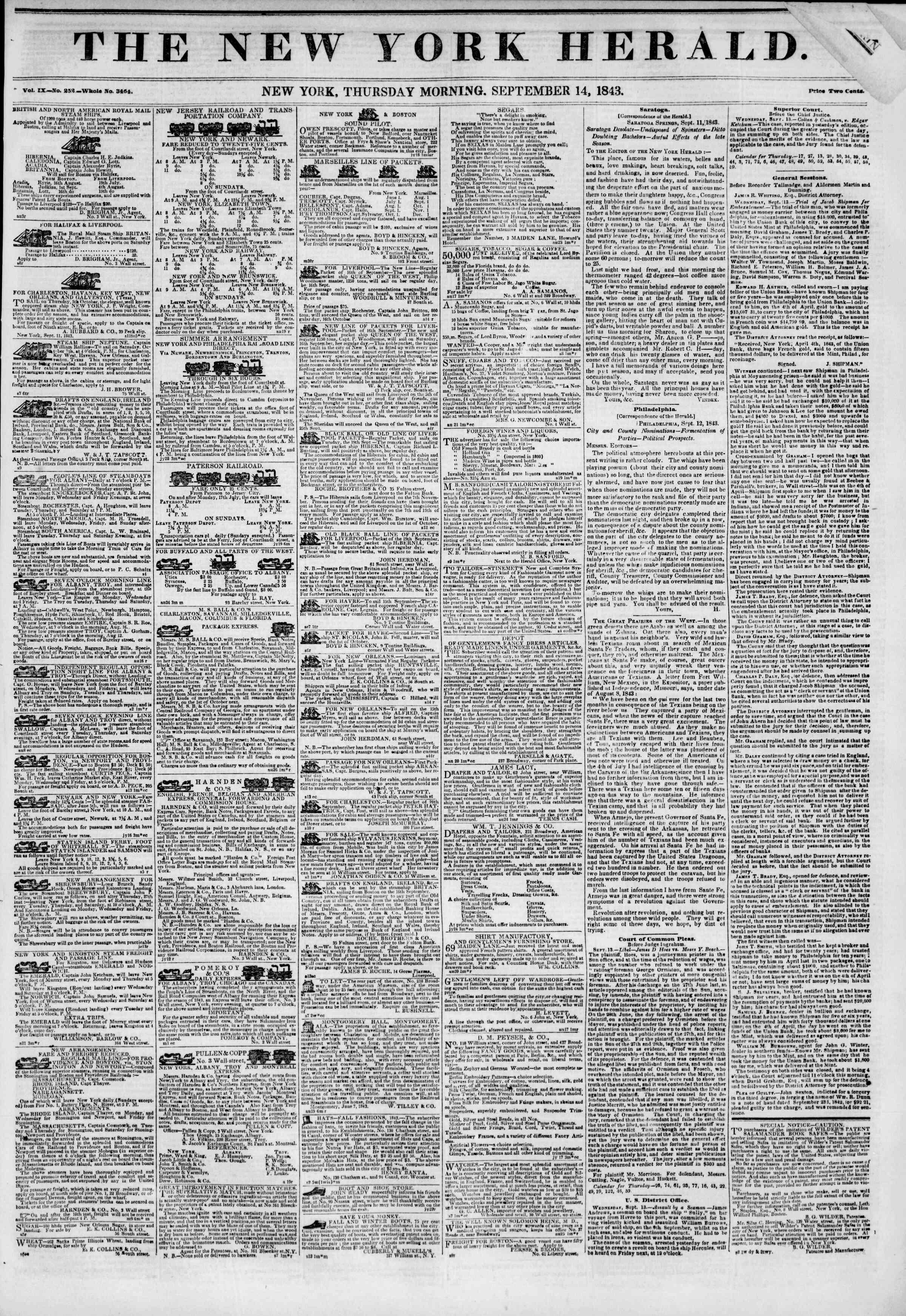 September 14, 1843 Tarihli The New York Herald Gazetesi Sayfa 1