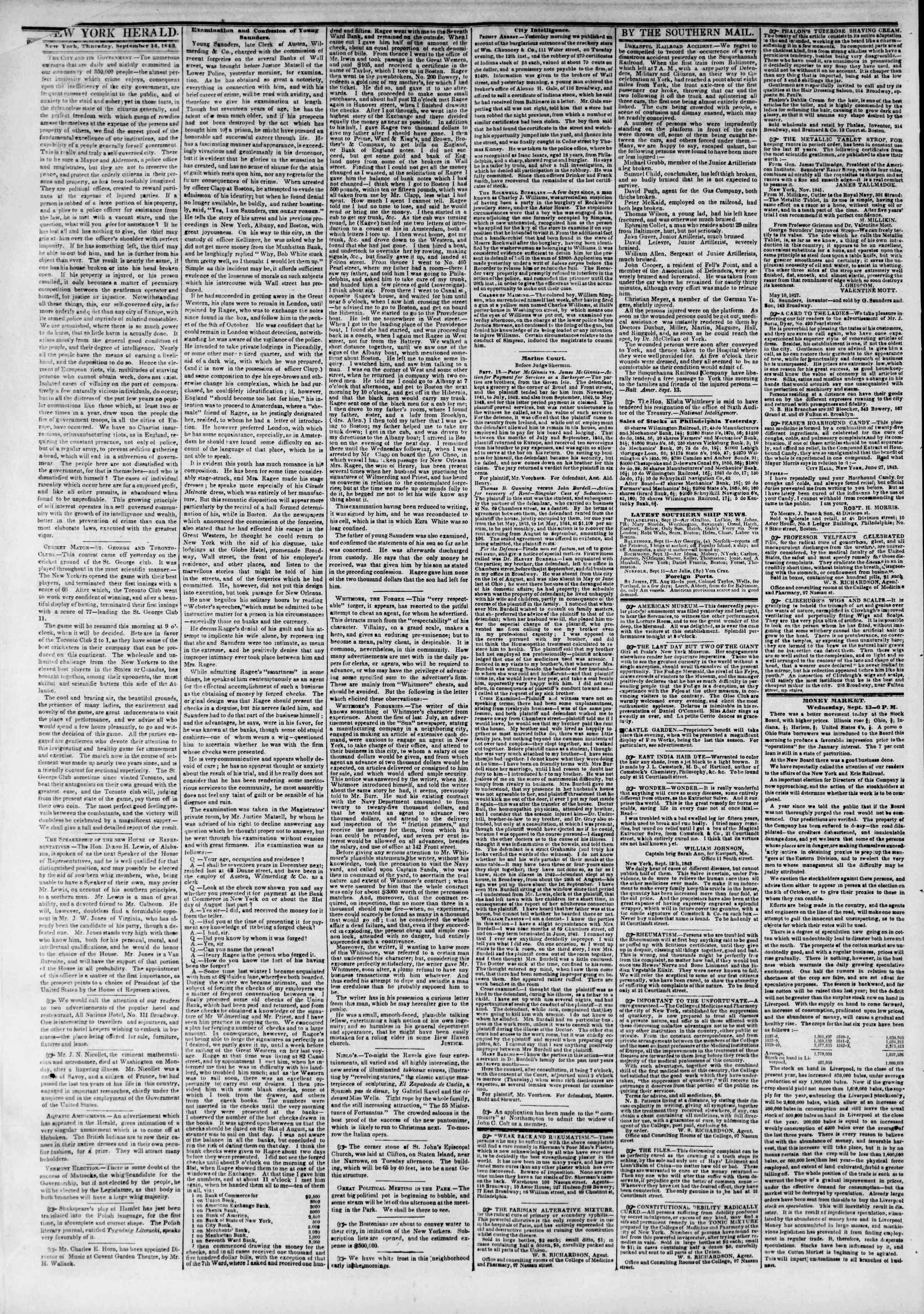 September 14, 1843 Tarihli The New York Herald Gazetesi Sayfa 2