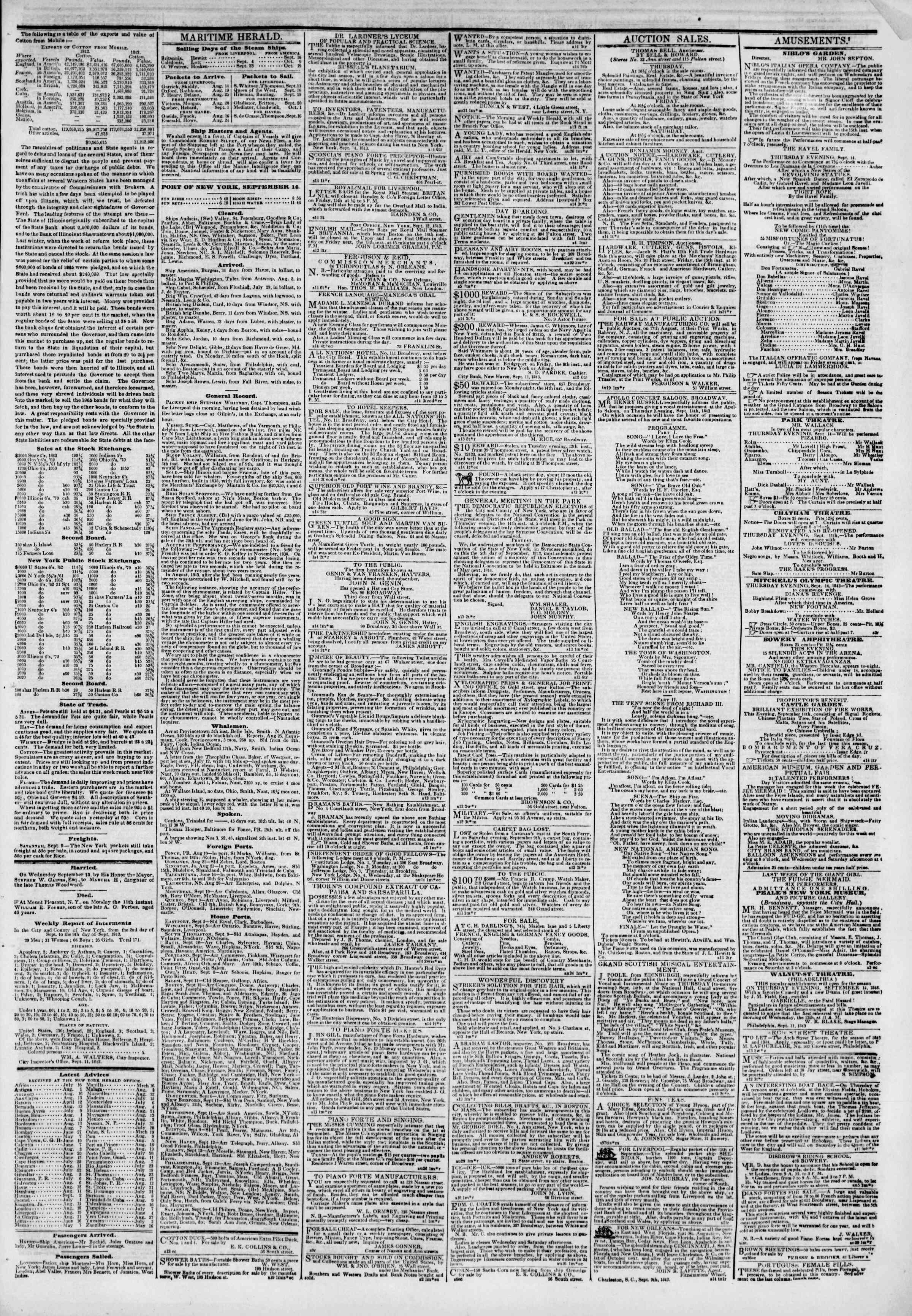 September 14, 1843 Tarihli The New York Herald Gazetesi Sayfa 3