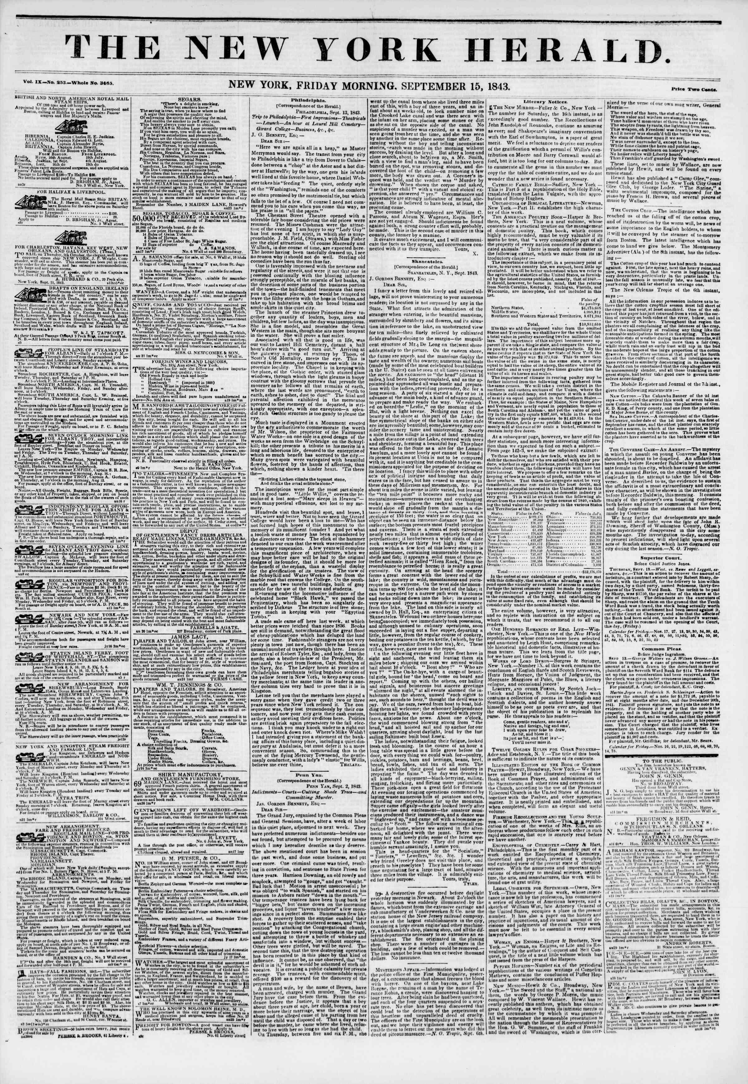 September 15, 1843 Tarihli The New York Herald Gazetesi Sayfa 1
