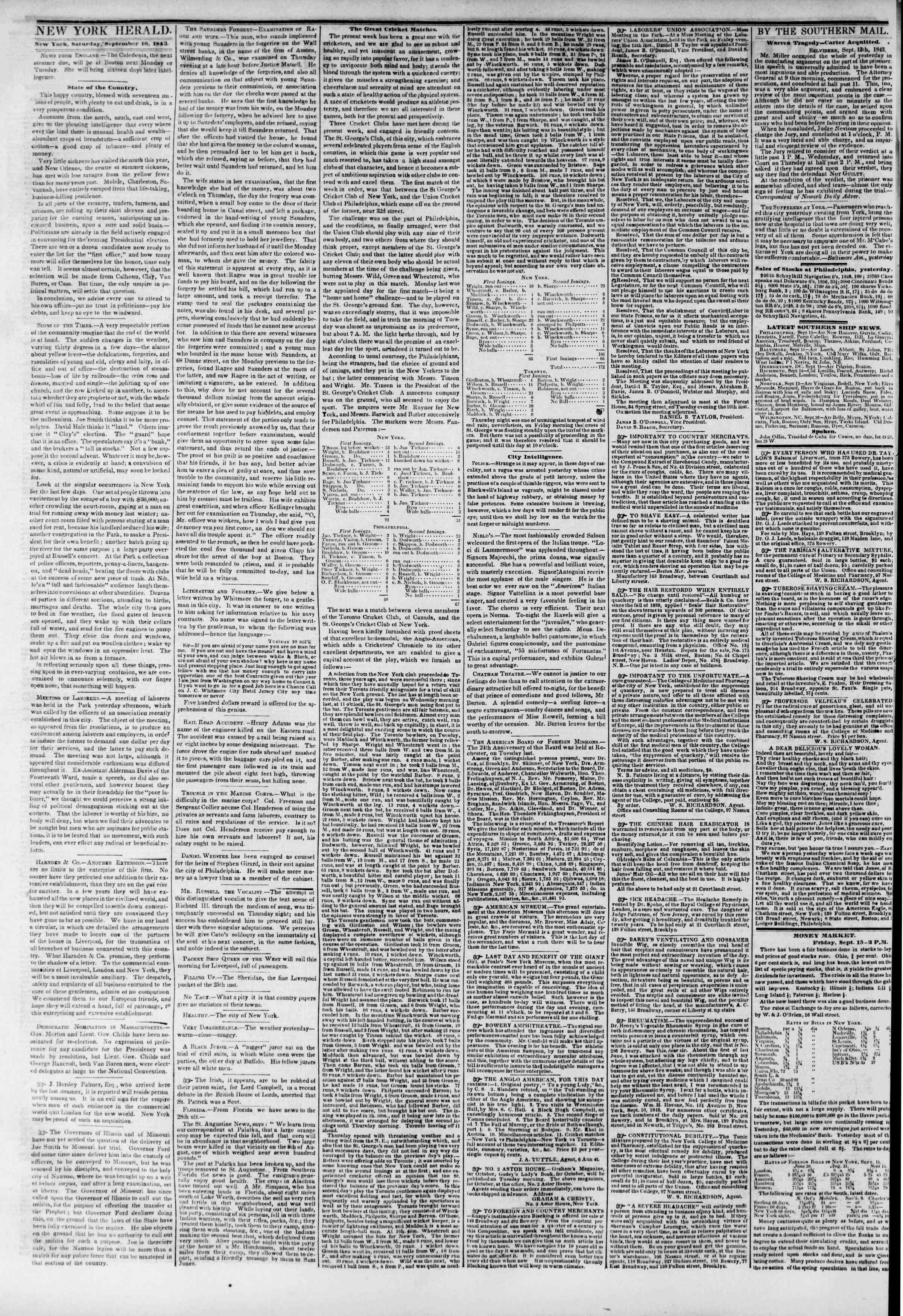 September 16, 1843 Tarihli The New York Herald Gazetesi Sayfa 2