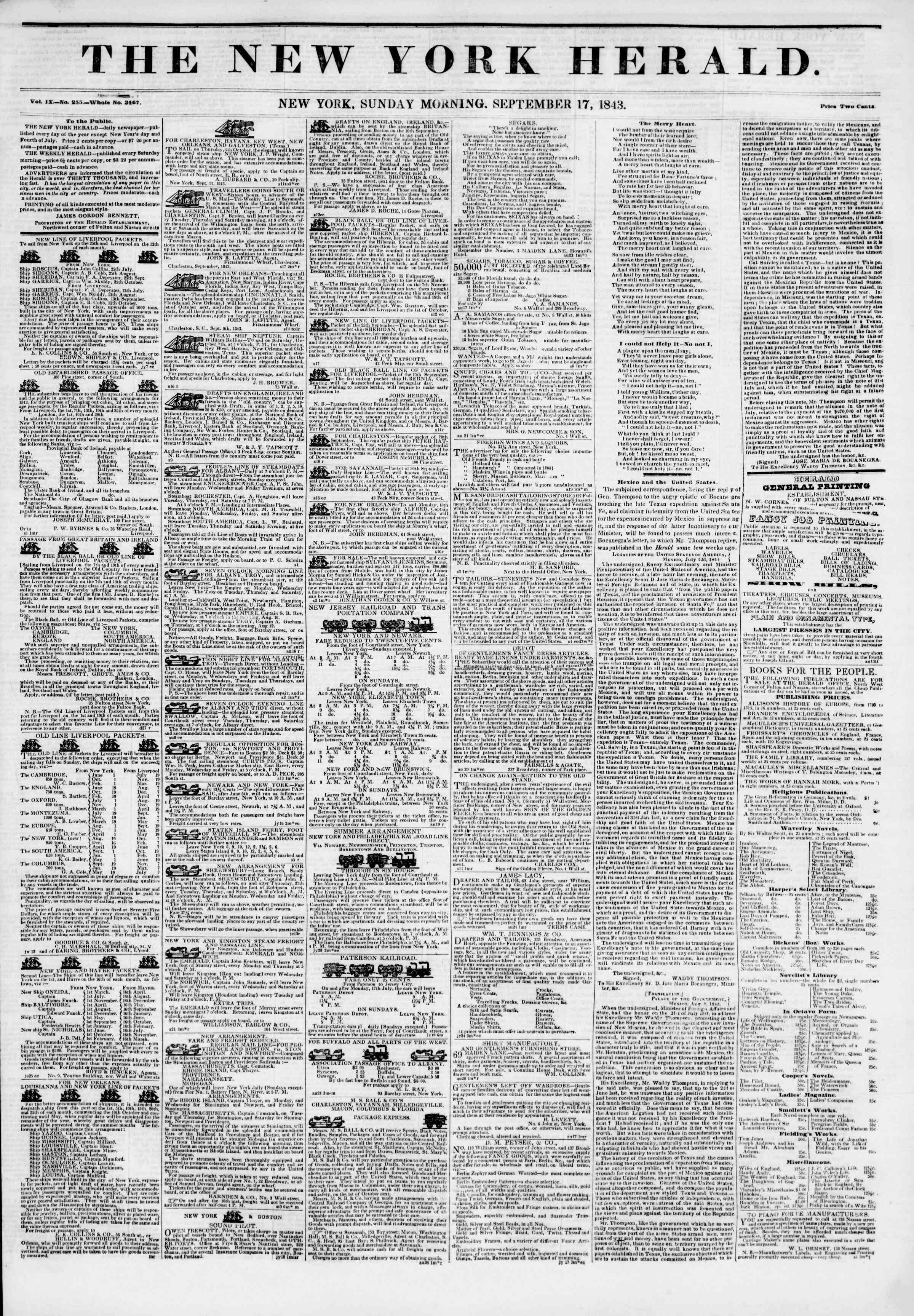 Newspaper of The New York Herald dated September 17, 1843 Page 1