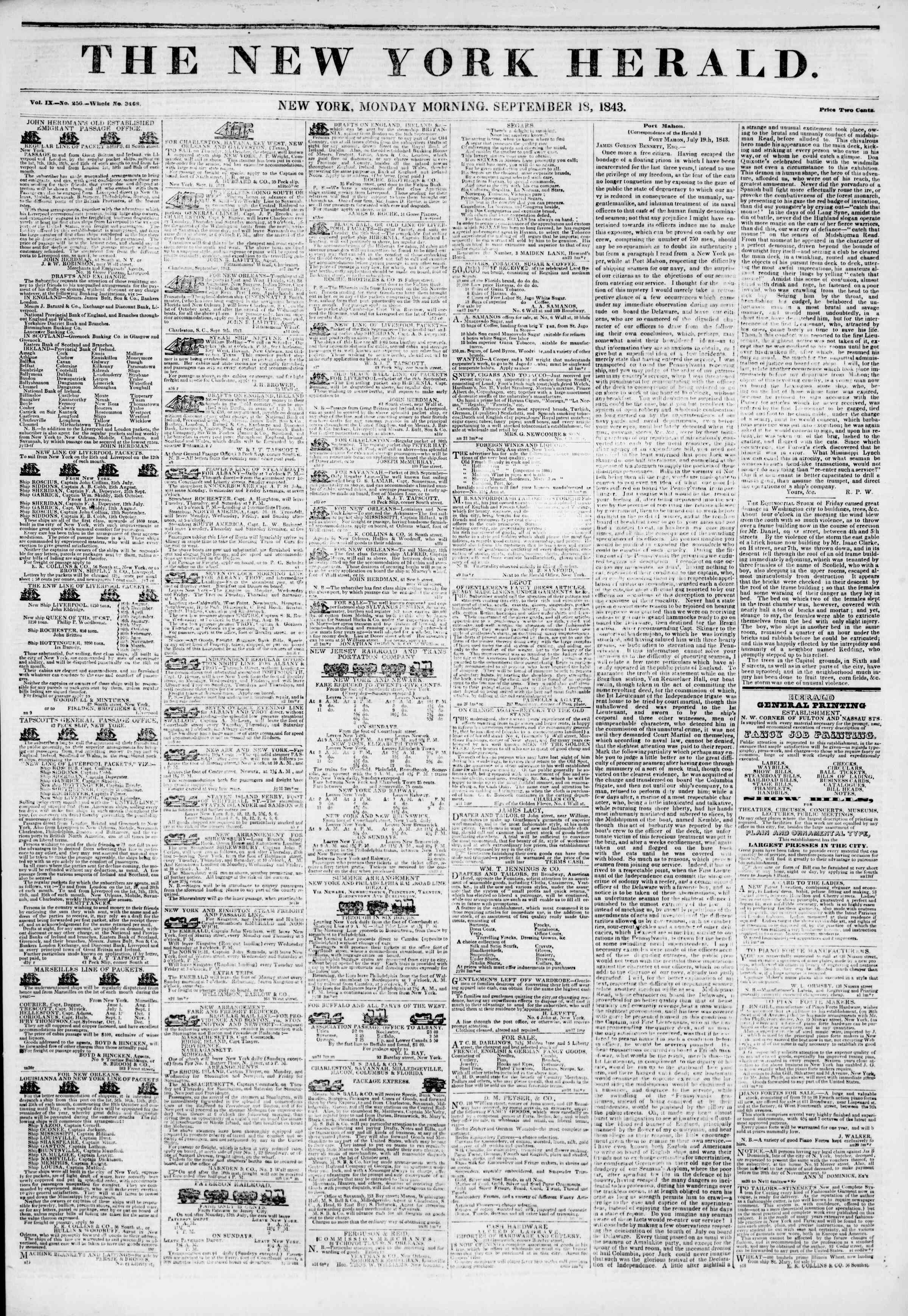 September 18, 1843 Tarihli The New York Herald Gazetesi Sayfa 1