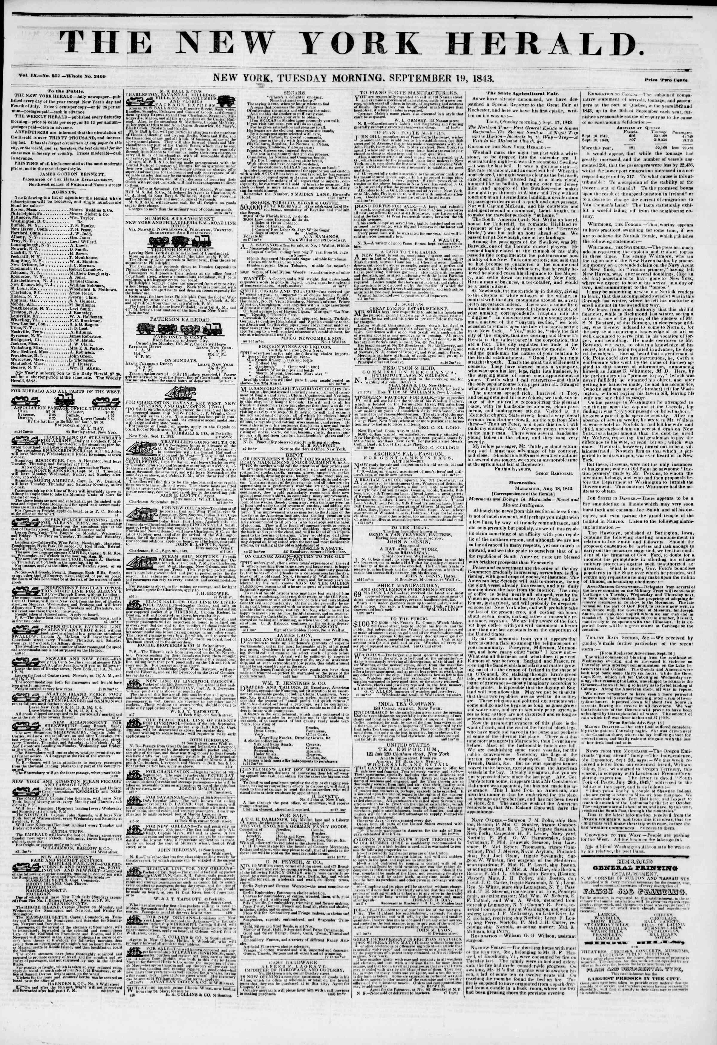 Newspaper of The New York Herald dated September 19, 1843 Page 1
