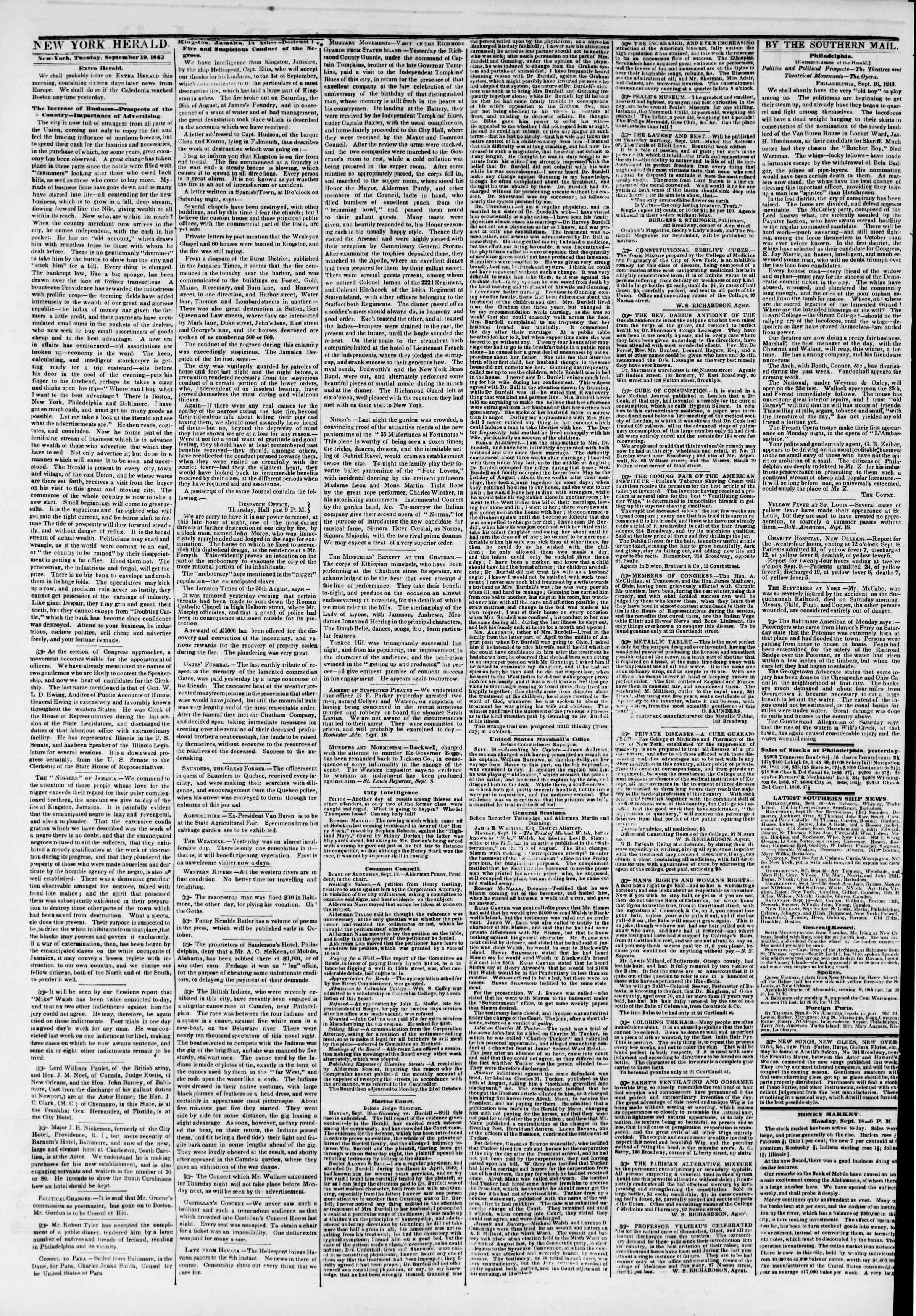 Newspaper of The New York Herald dated September 19, 1843 Page 2