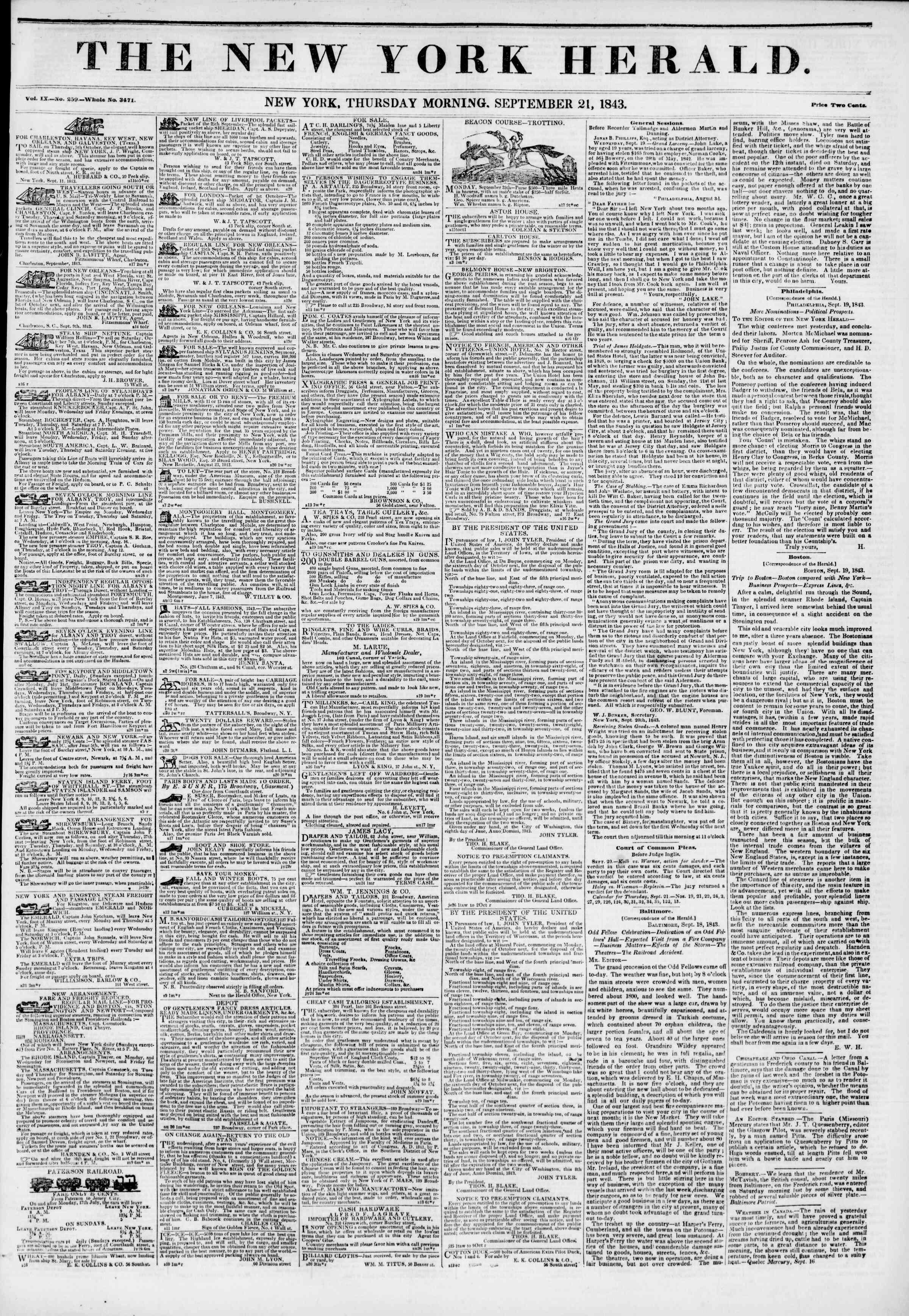September 21, 1843 Tarihli The New York Herald Gazetesi Sayfa 1