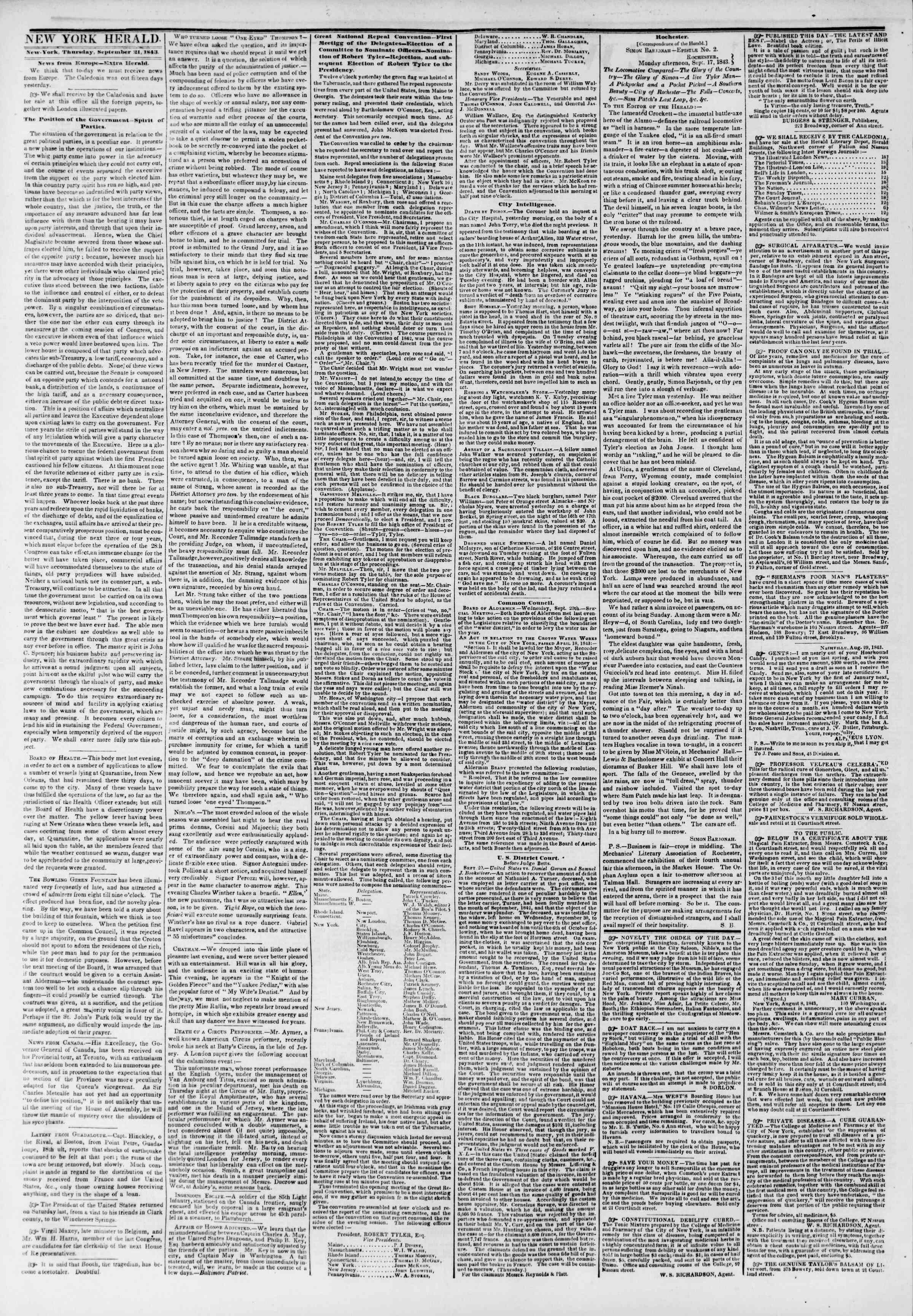 September 21, 1843 Tarihli The New York Herald Gazetesi Sayfa 2