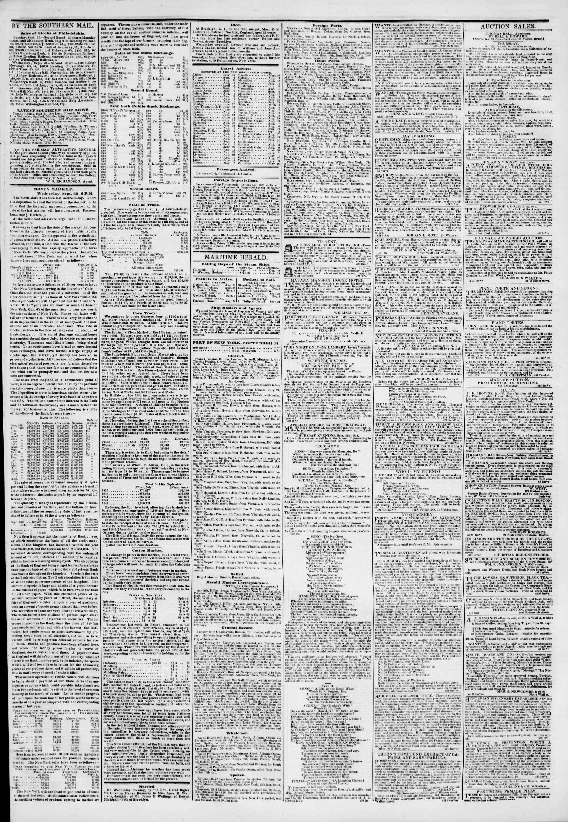 September 21, 1843 Tarihli The New York Herald Gazetesi Sayfa 3