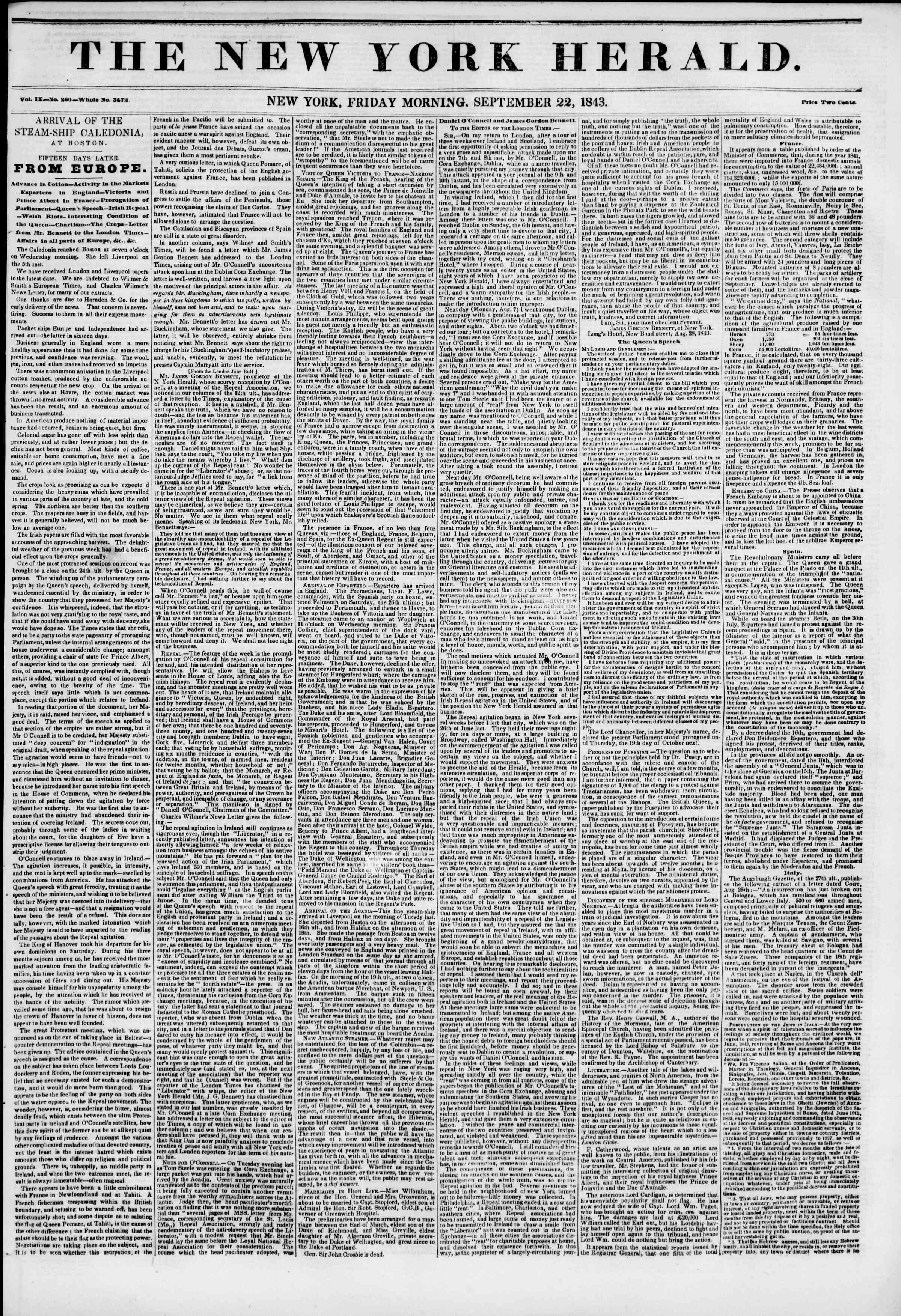 September 22, 1843 Tarihli The New York Herald Gazetesi Sayfa 1