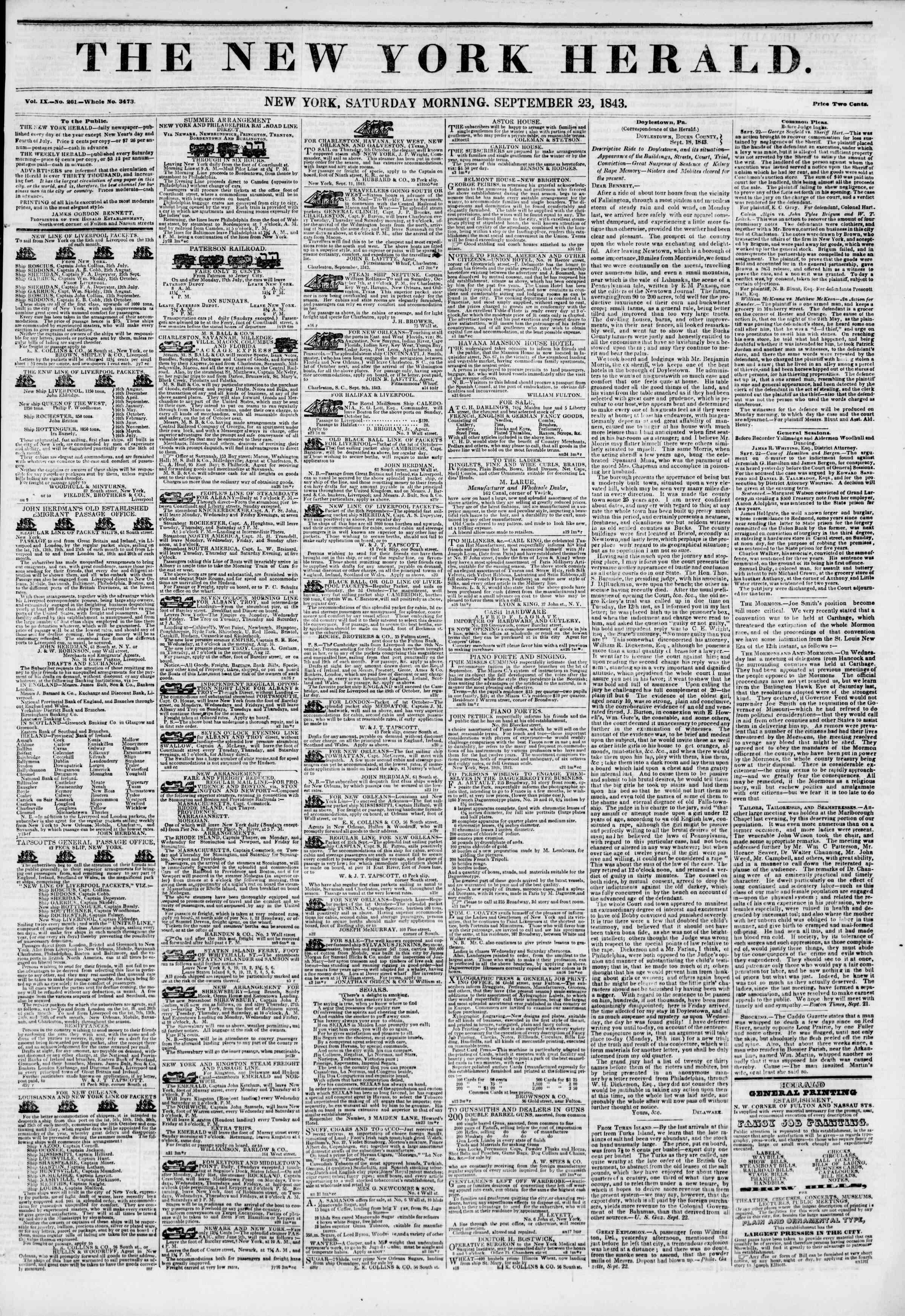 September 23, 1843 Tarihli The New York Herald Gazetesi Sayfa 1