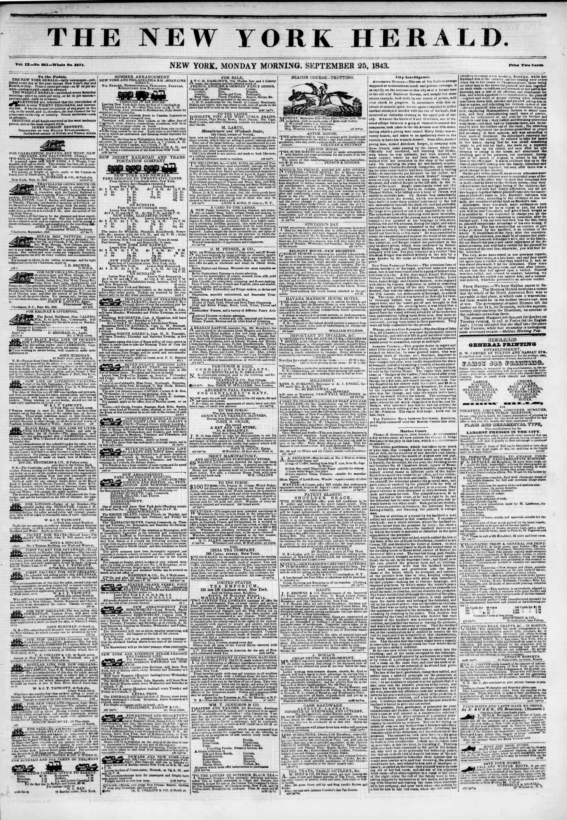 September 25, 1843 Tarihli The New York Herald Gazetesi Sayfa 1