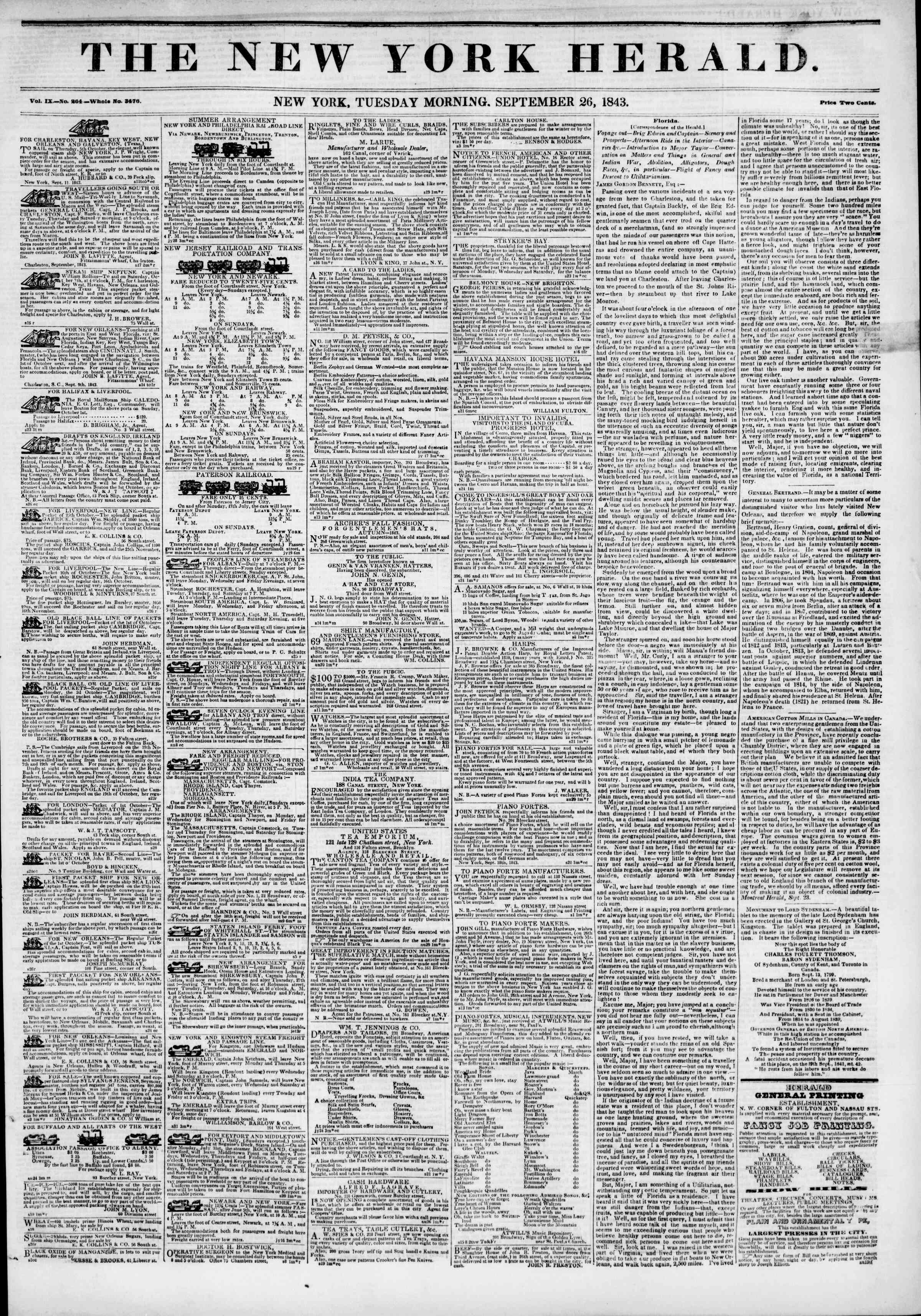 Newspaper of The New York Herald dated September 26, 1843 Page 1