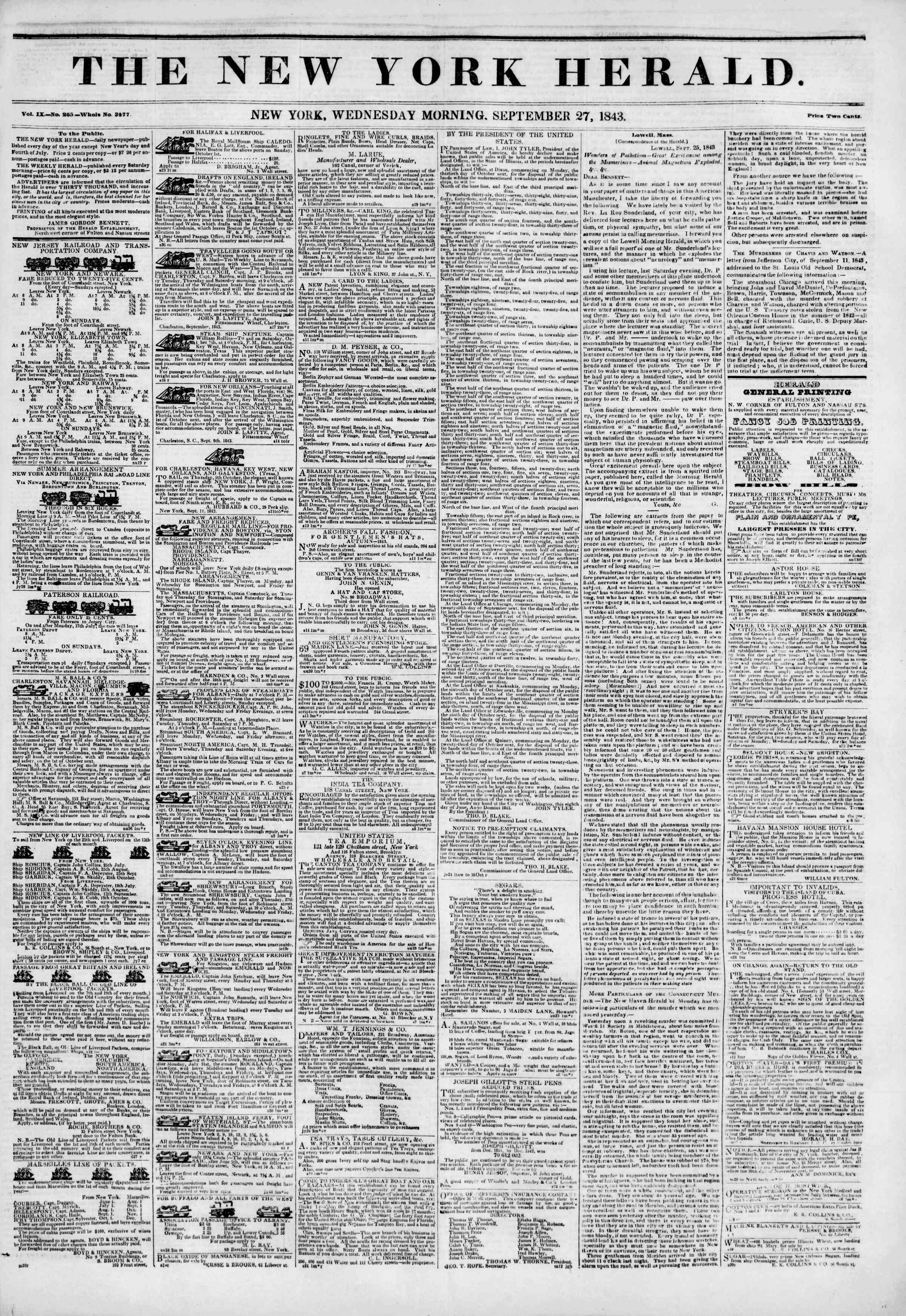 Newspaper of The New York Herald dated September 27, 1843 Page 1