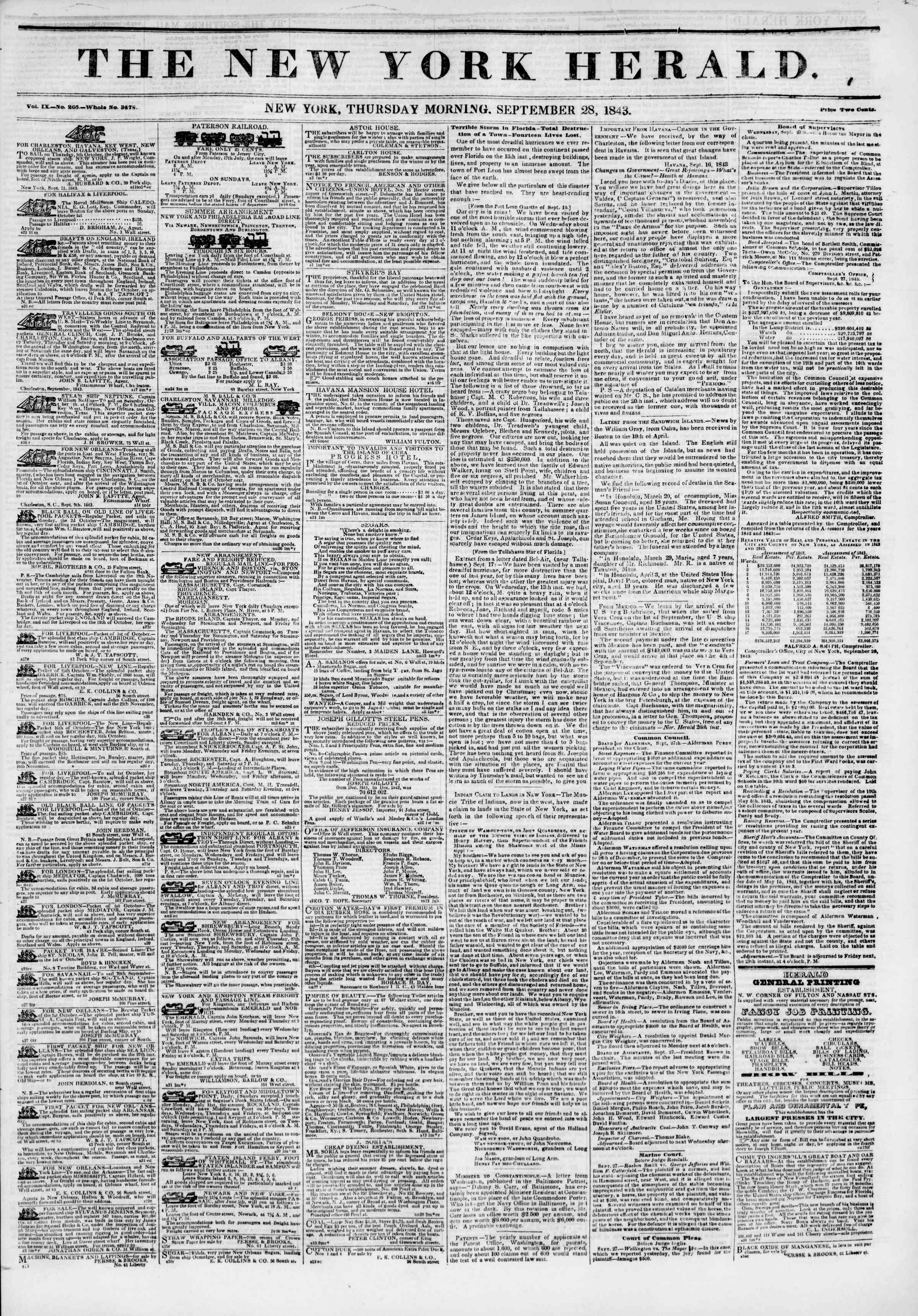 Newspaper of The New York Herald dated September 28, 1843 Page 1