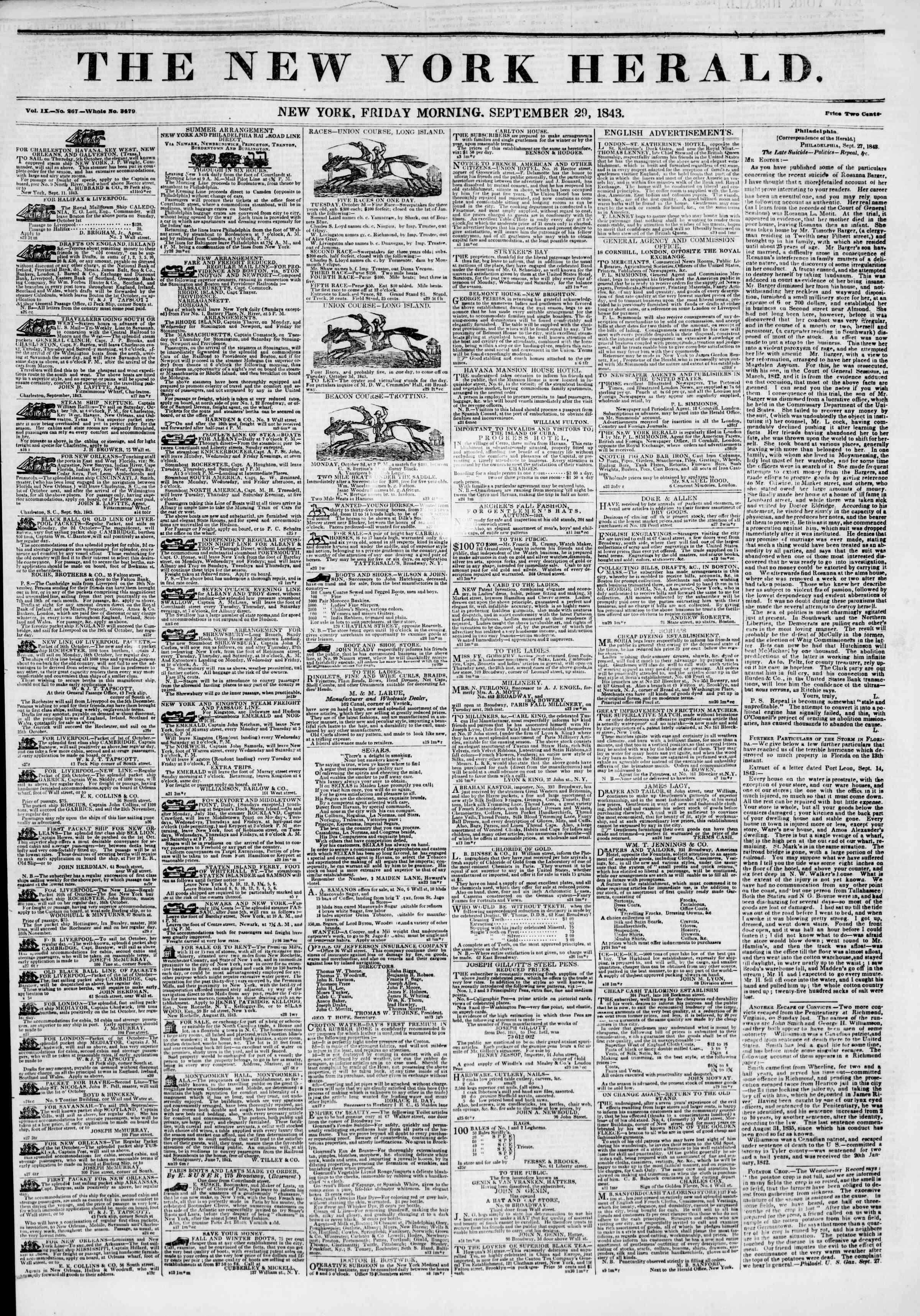 September 29, 1843 Tarihli The New York Herald Gazetesi Sayfa 1