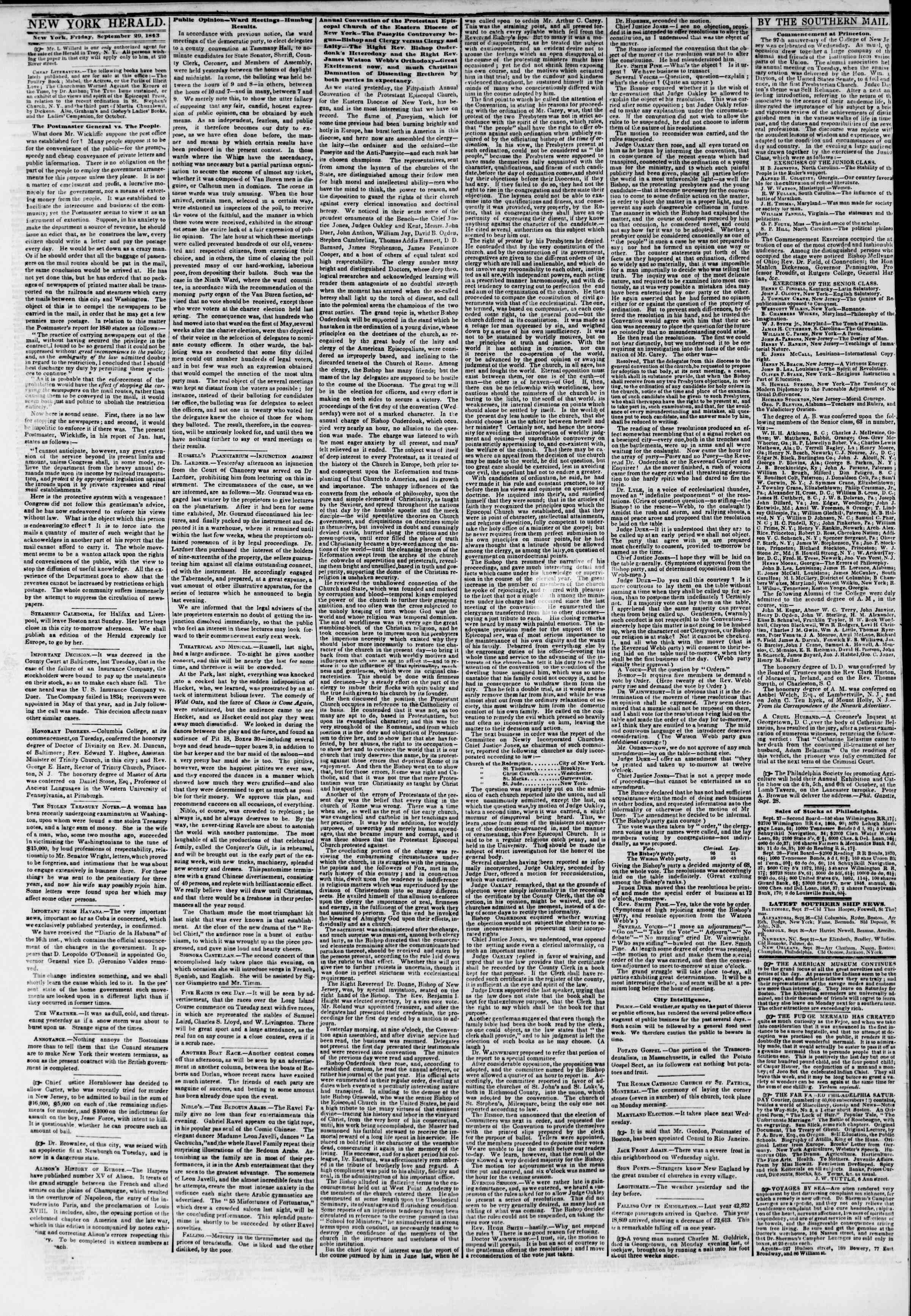 Newspaper of The New York Herald dated September 29, 1843 Page 2