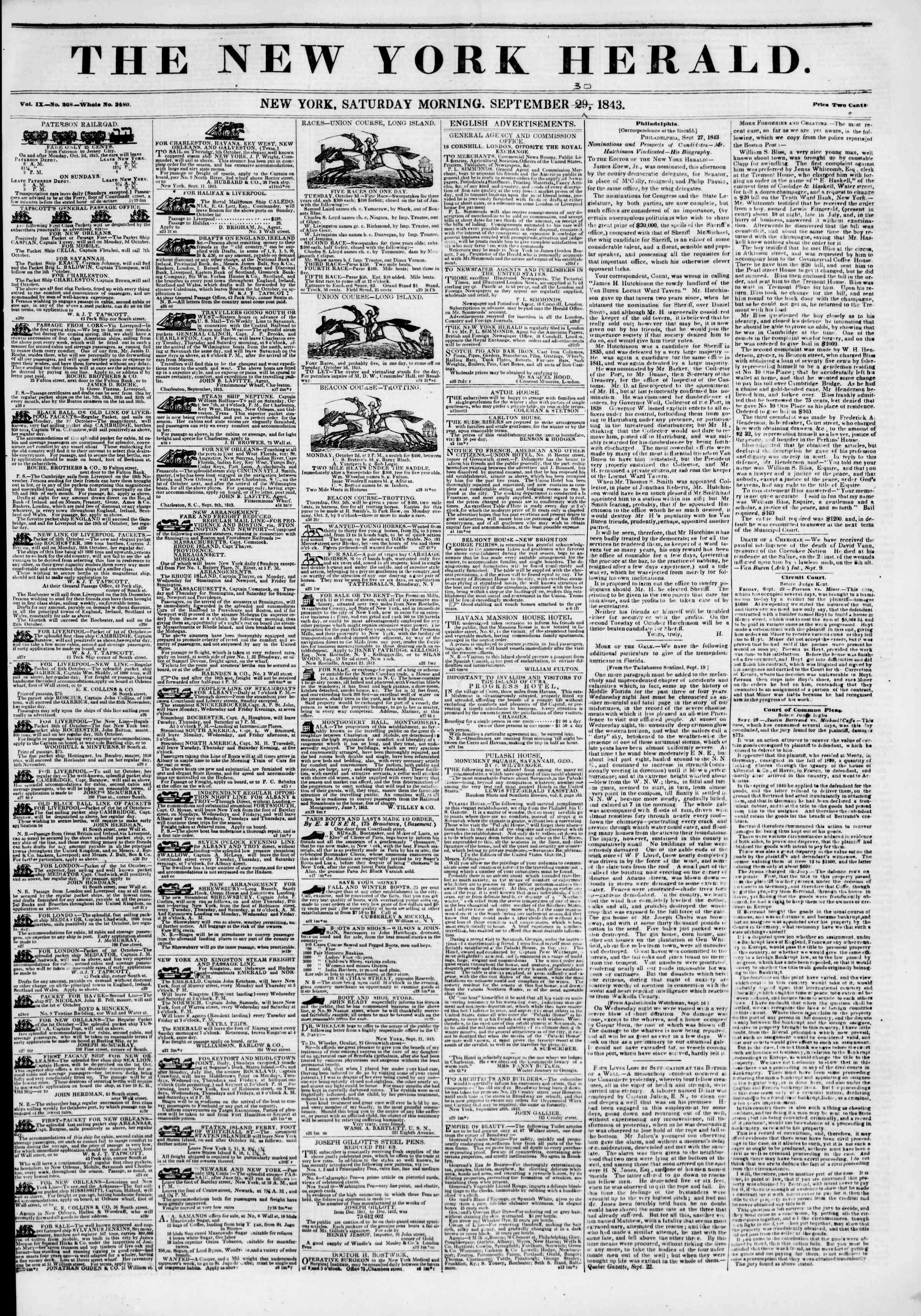 September 30, 1843 Tarihli The New York Herald Gazetesi Sayfa 1