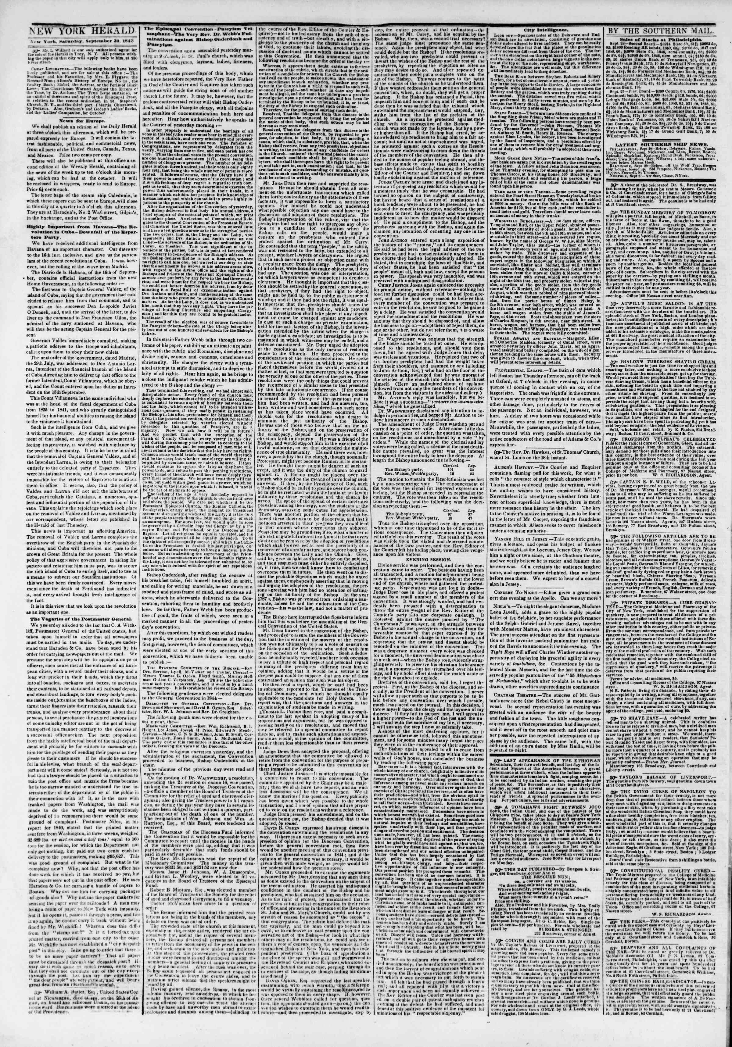 Newspaper of The New York Herald dated September 30, 1843 Page 2