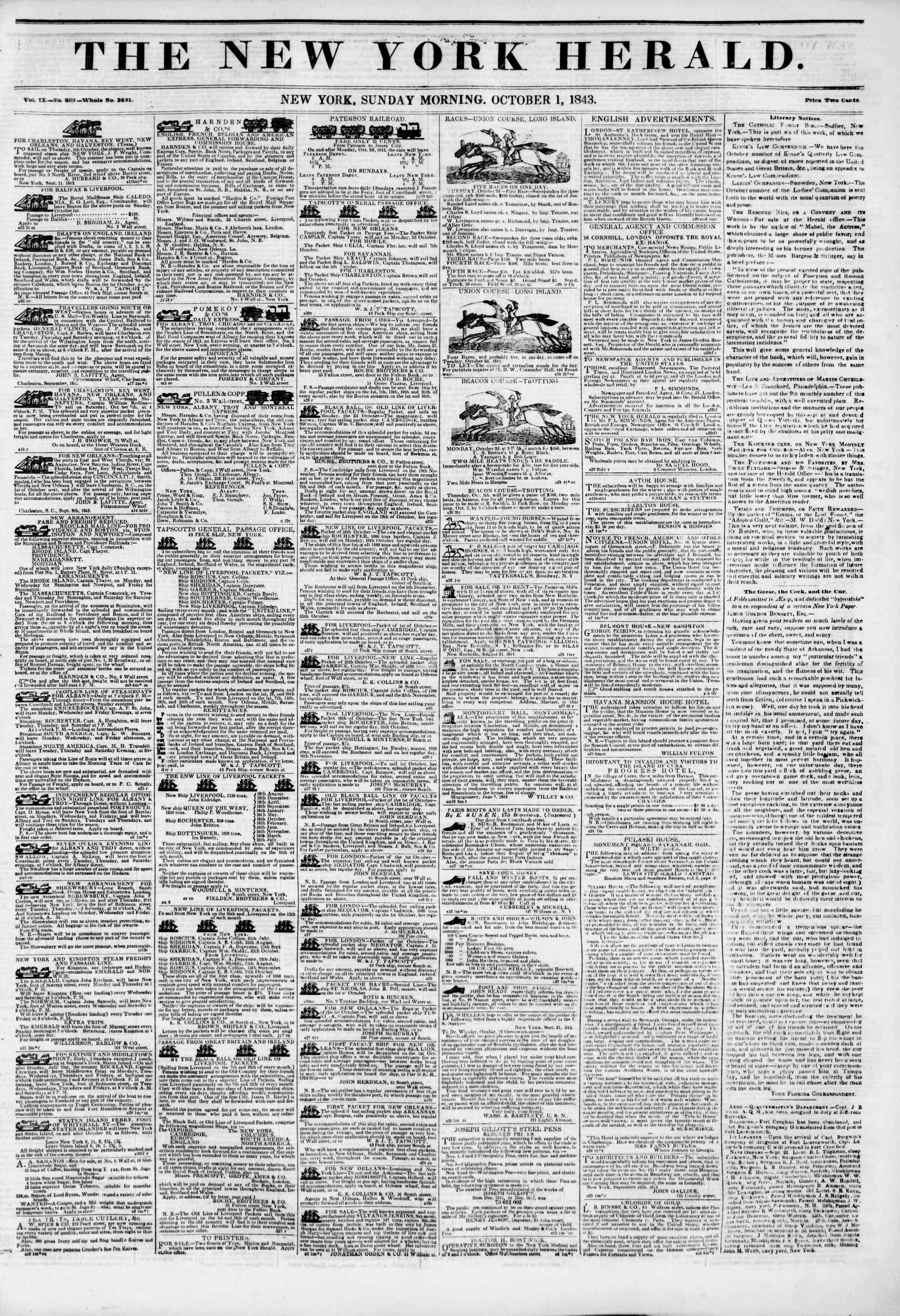 October 1, 1843 Tarihli The New York Herald Gazetesi Sayfa 1