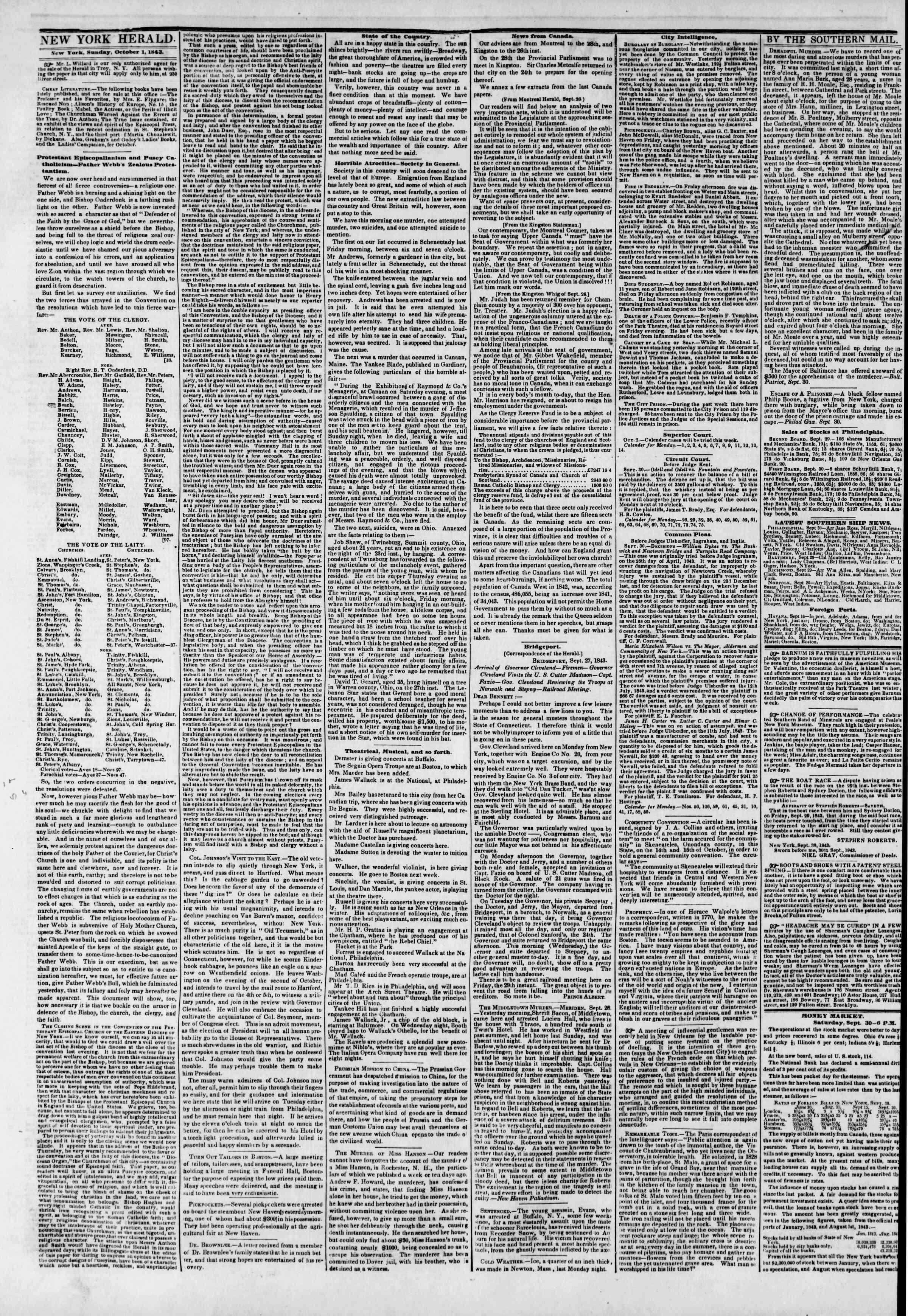 October 1, 1843 Tarihli The New York Herald Gazetesi Sayfa 2