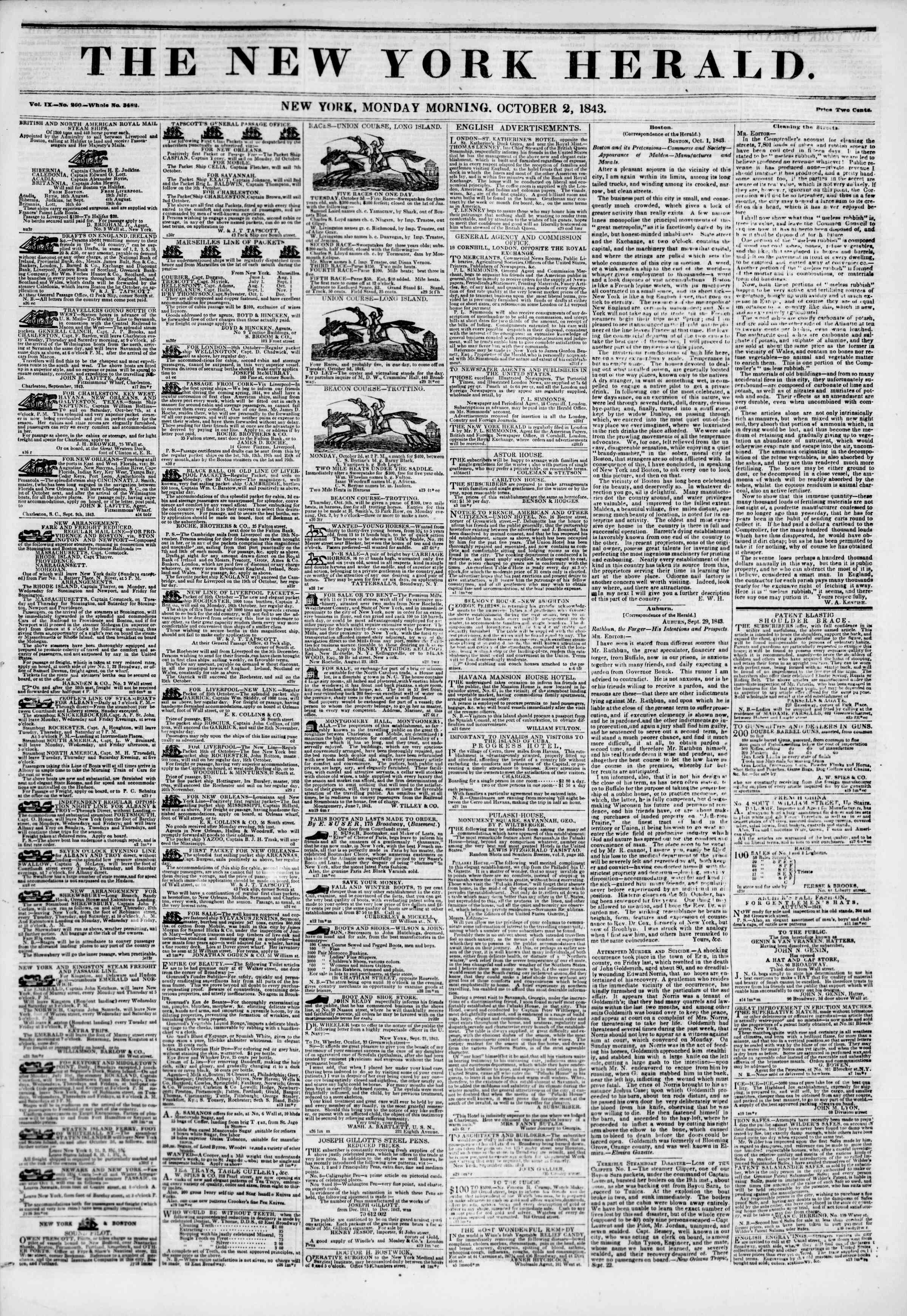 Newspaper of The New York Herald dated October 2, 1843 Page 1