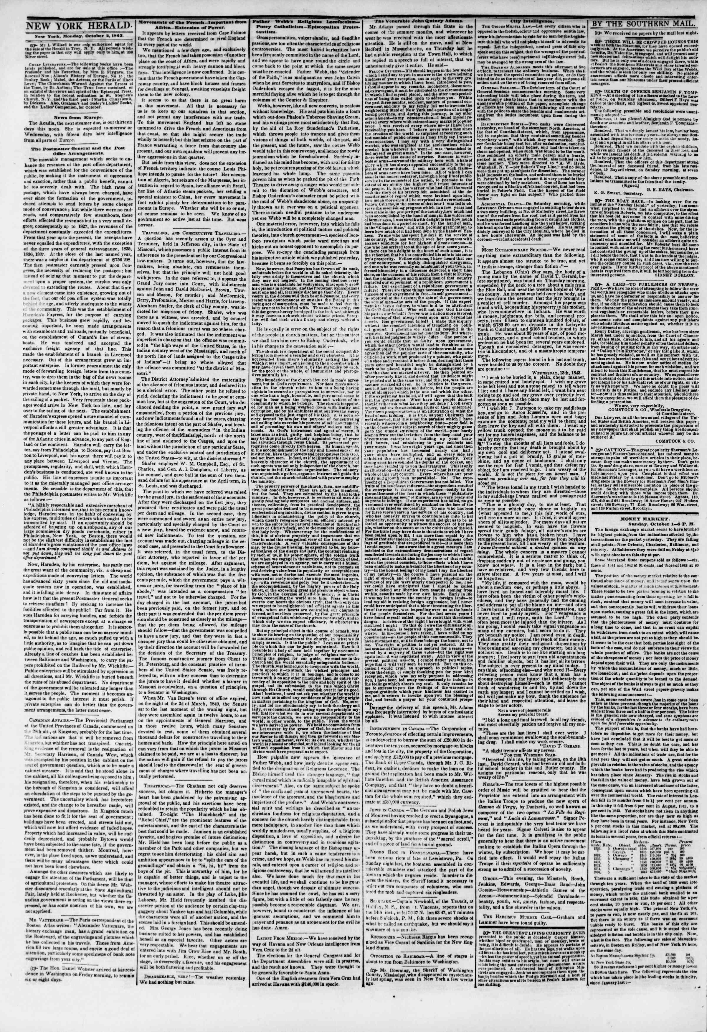 October 2, 1843 Tarihli The New York Herald Gazetesi Sayfa 2