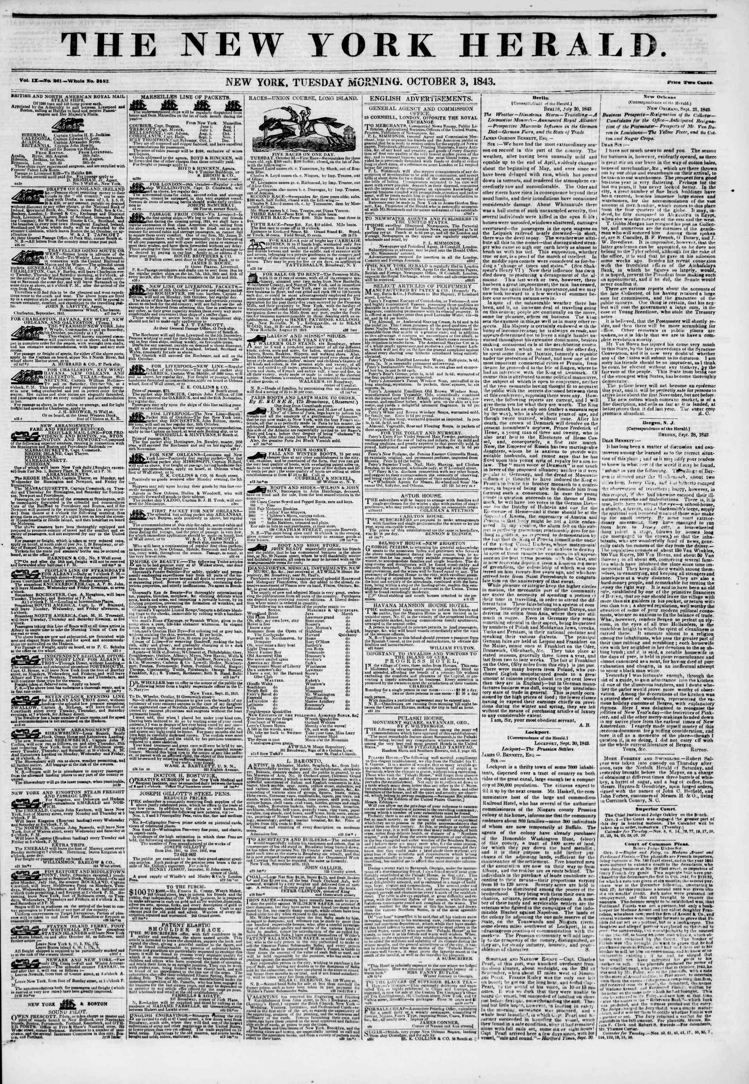 October 3, 1843 Tarihli The New York Herald Gazetesi Sayfa 1