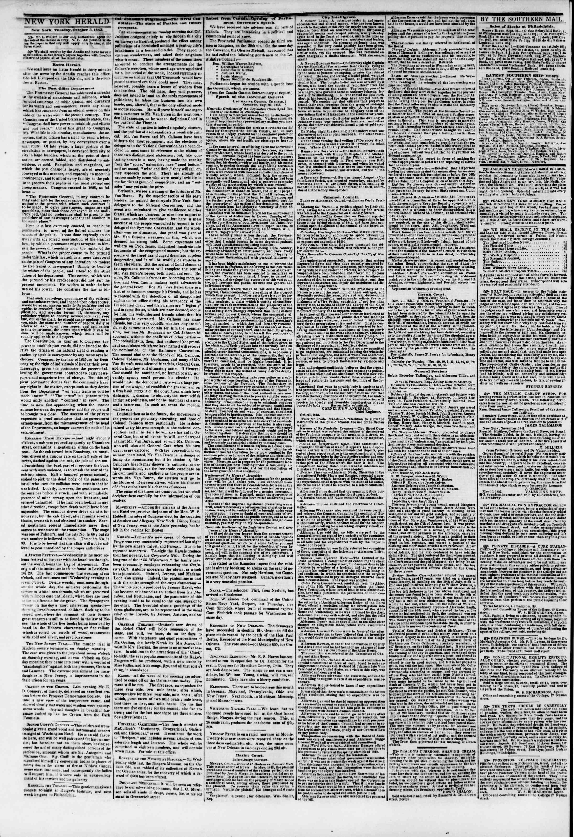 3 Ekim 1843 tarihli The New York Herald Gazetesi Sayfa 2