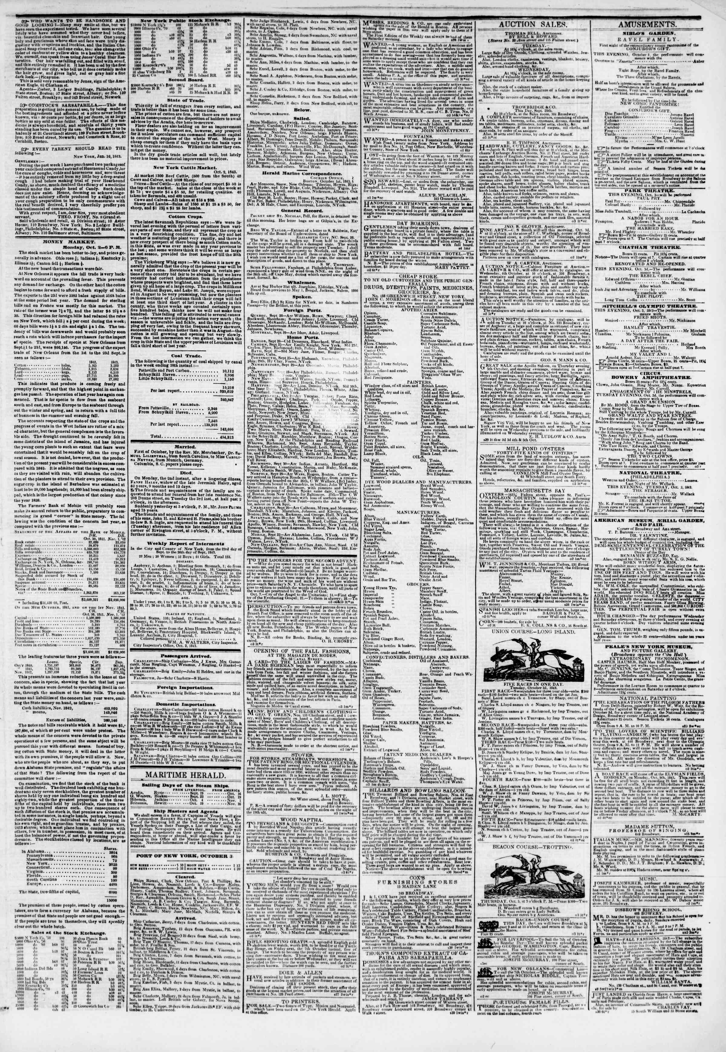Newspaper of The New York Herald dated October 3, 1843 Page 3