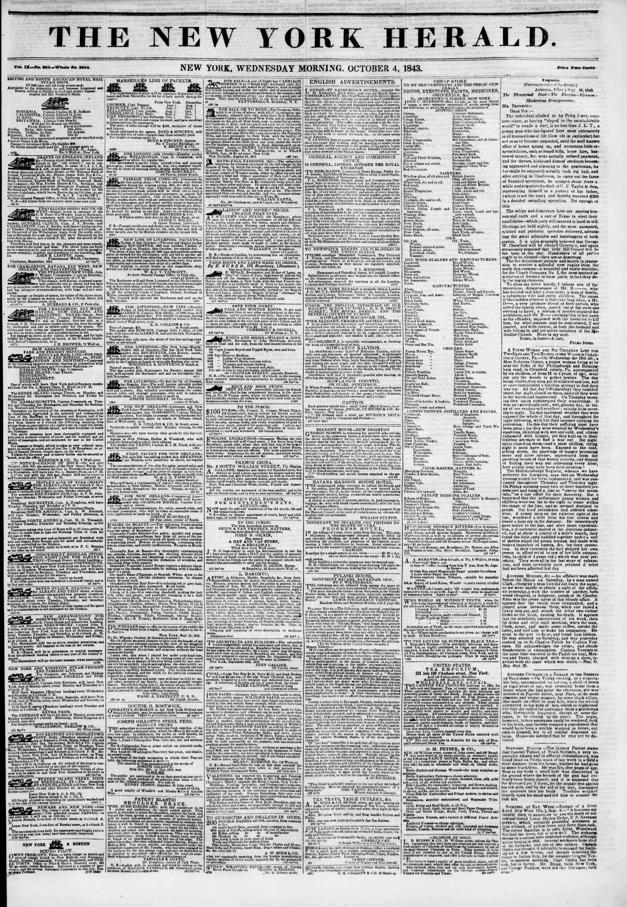 October 4, 1843 Tarihli The New York Herald Gazetesi Sayfa 1