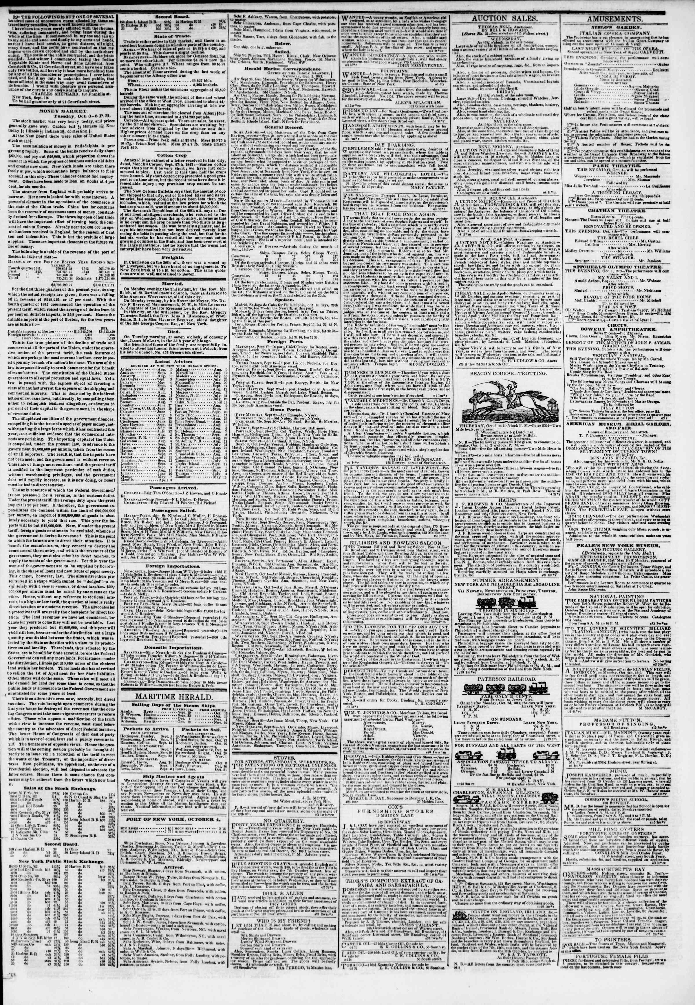 October 4, 1843 Tarihli The New York Herald Gazetesi Sayfa 3