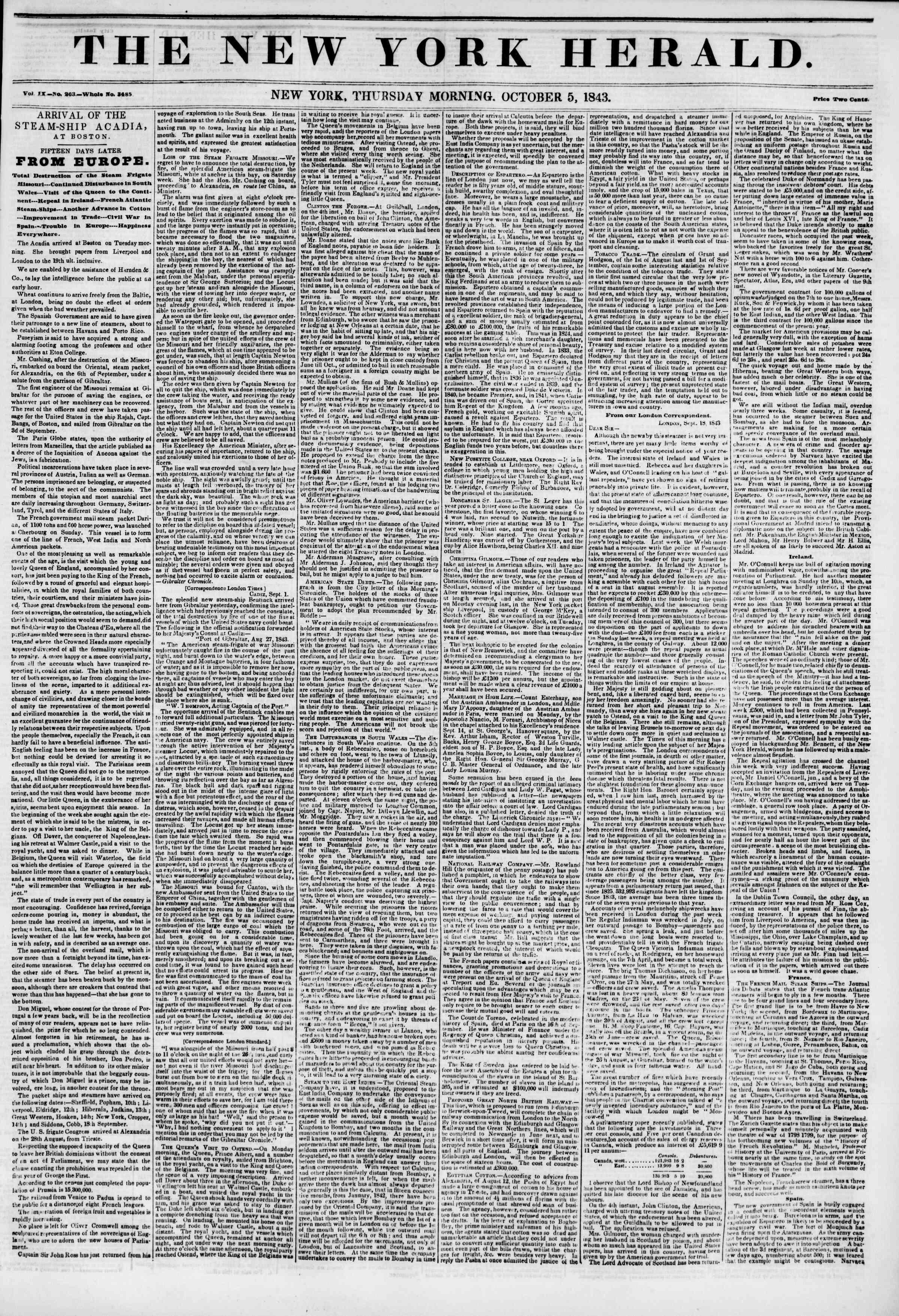 5 Ekim 1843 tarihli The New York Herald Gazetesi Sayfa 1