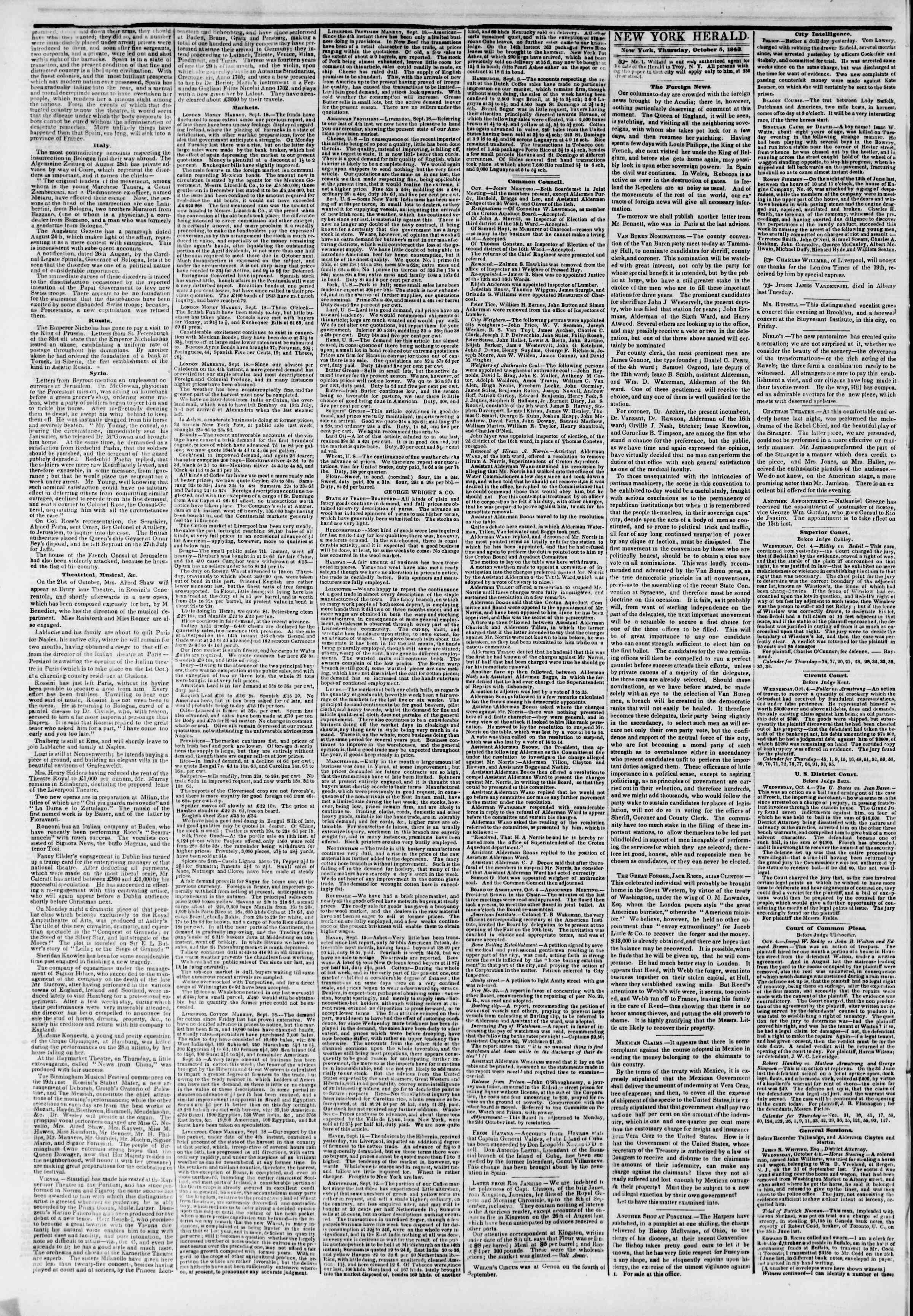 Newspaper of The New York Herald dated October 5, 1843 Page 2