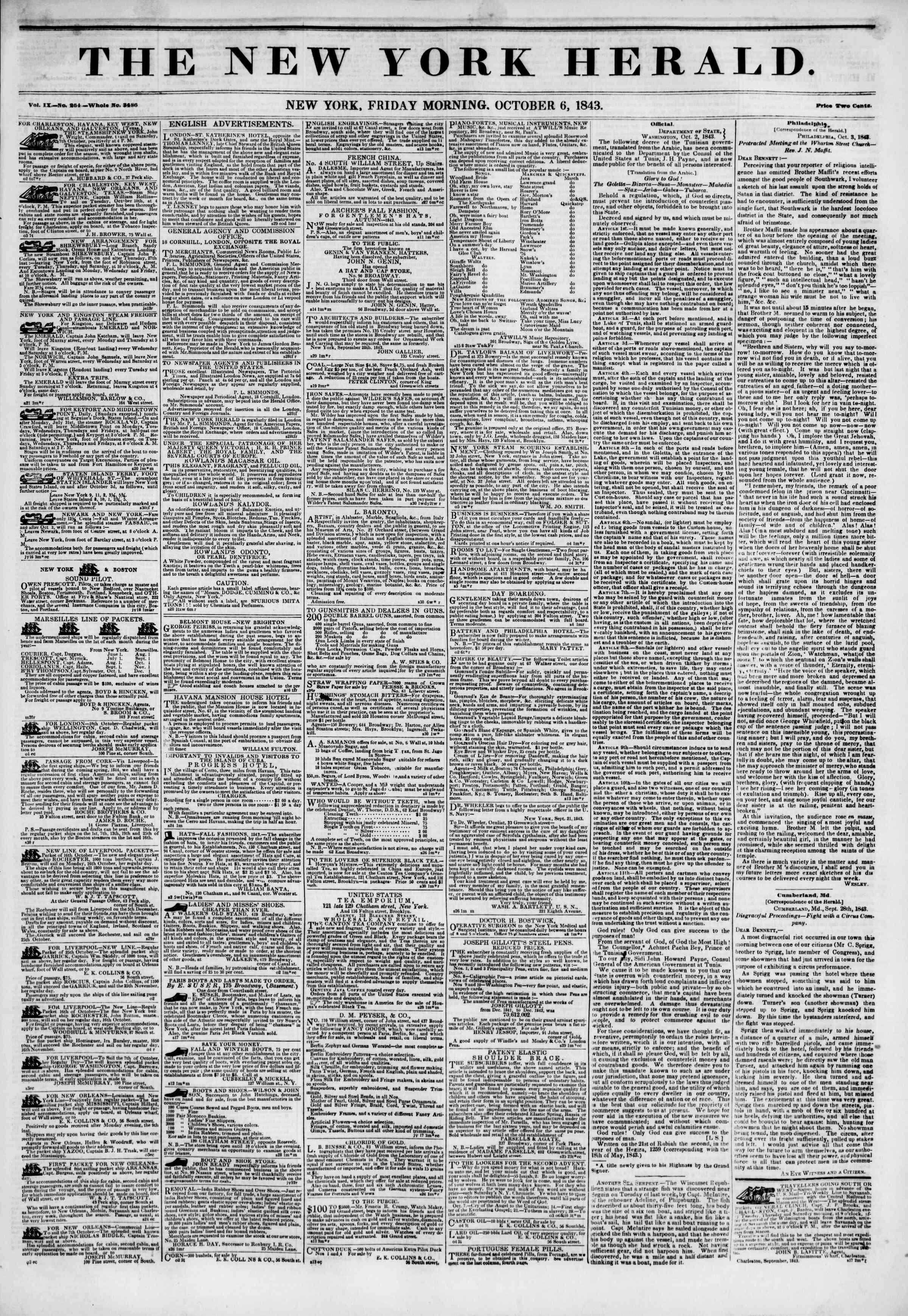 October 6, 1843 Tarihli The New York Herald Gazetesi Sayfa 1
