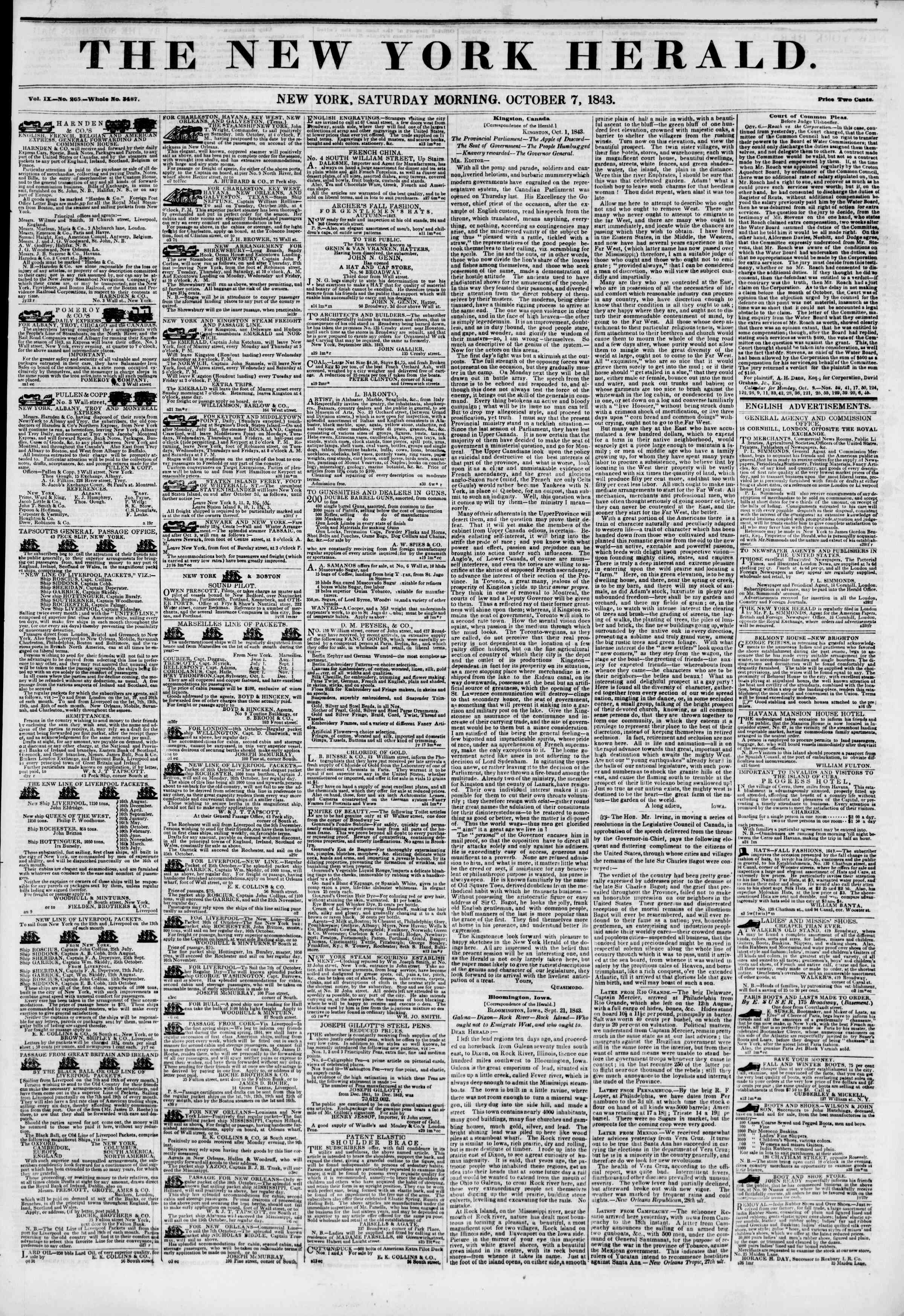Newspaper of The New York Herald dated October 7, 1843 Page 1